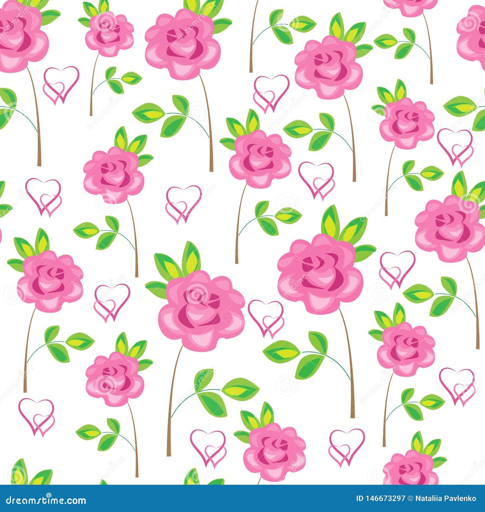 Modelo incons?til Flores, rosas y corazones rosados Conveniente como papel pintado, como envoltorio para regalos para el d?a de t