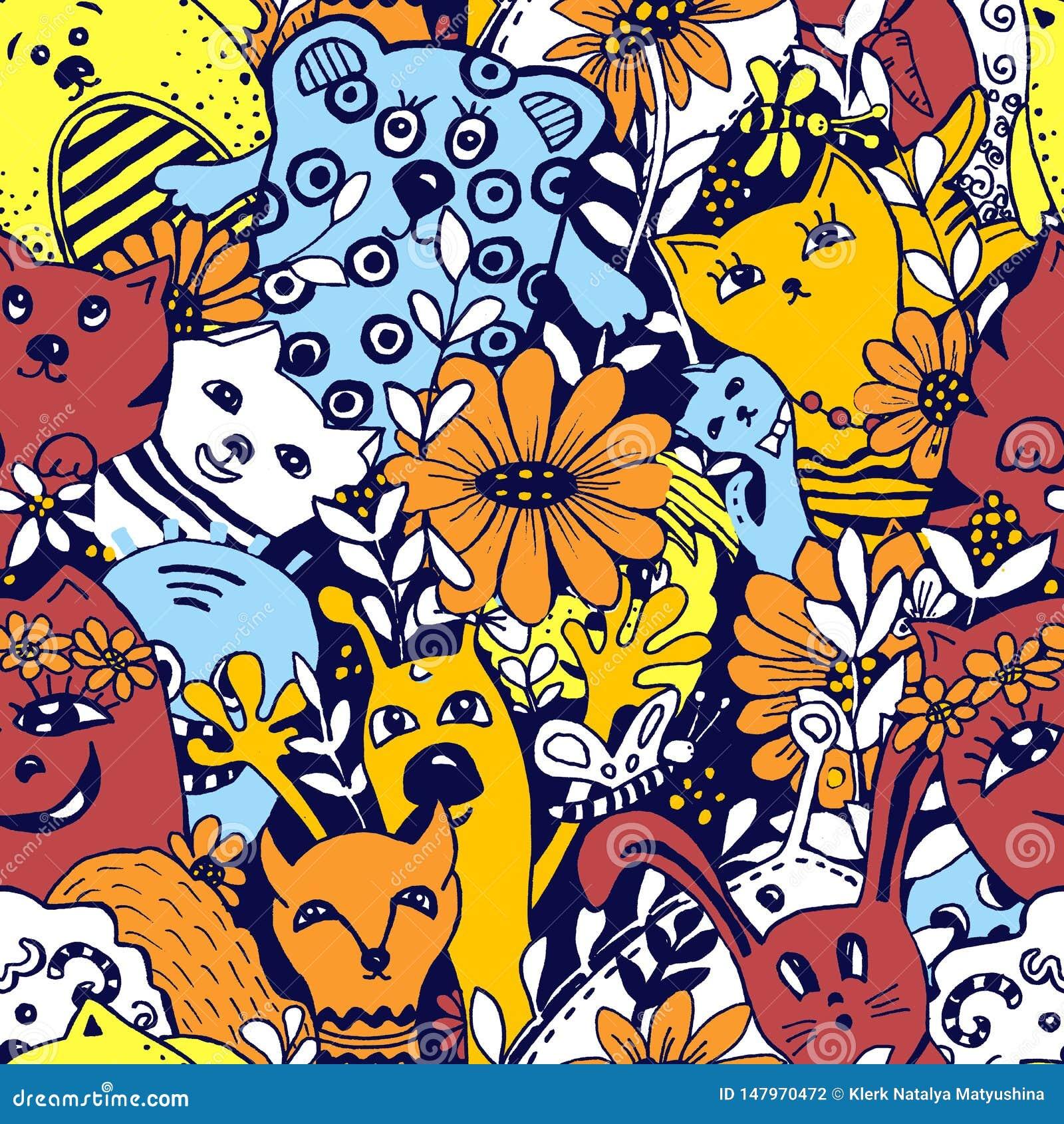 Modelo incons?til Personajes de dibujos animados en el estilo del kawaii con la imagen de animales, de p?jaros y de flores Fondos