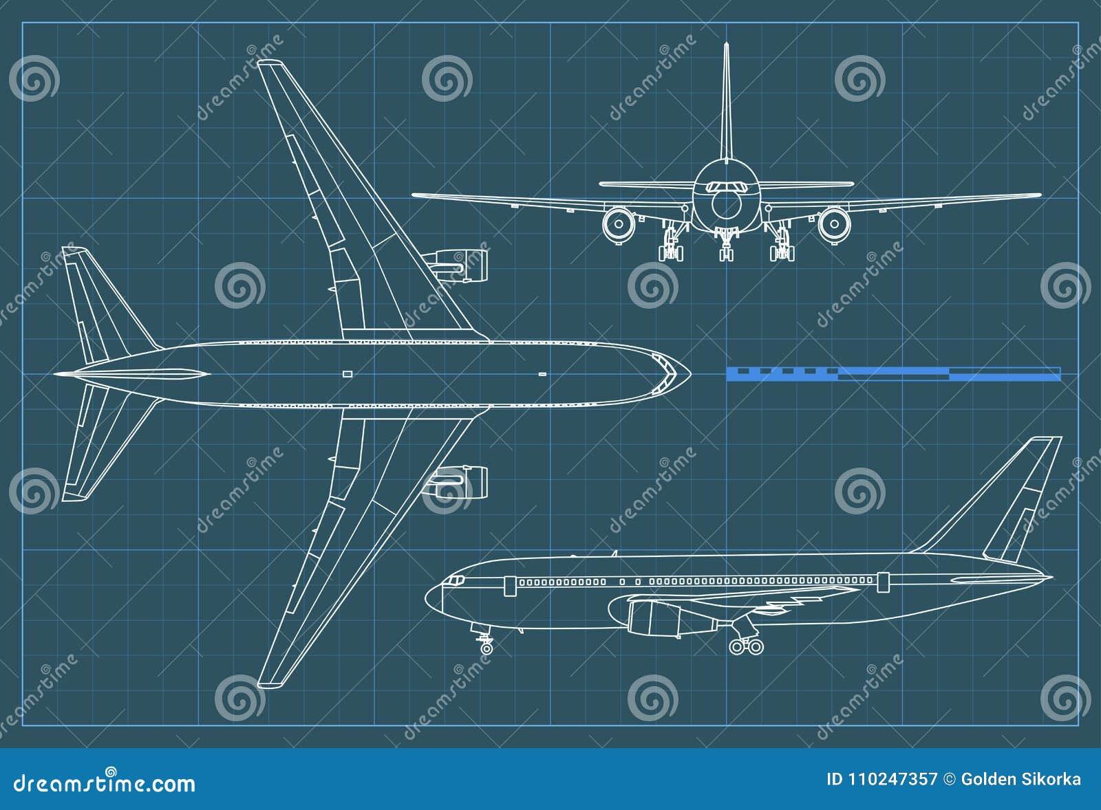 Modelo industrial del aeroplano Vector el avión del dibujo de esquema en un fondo azul Vista delantera del top, lateral y