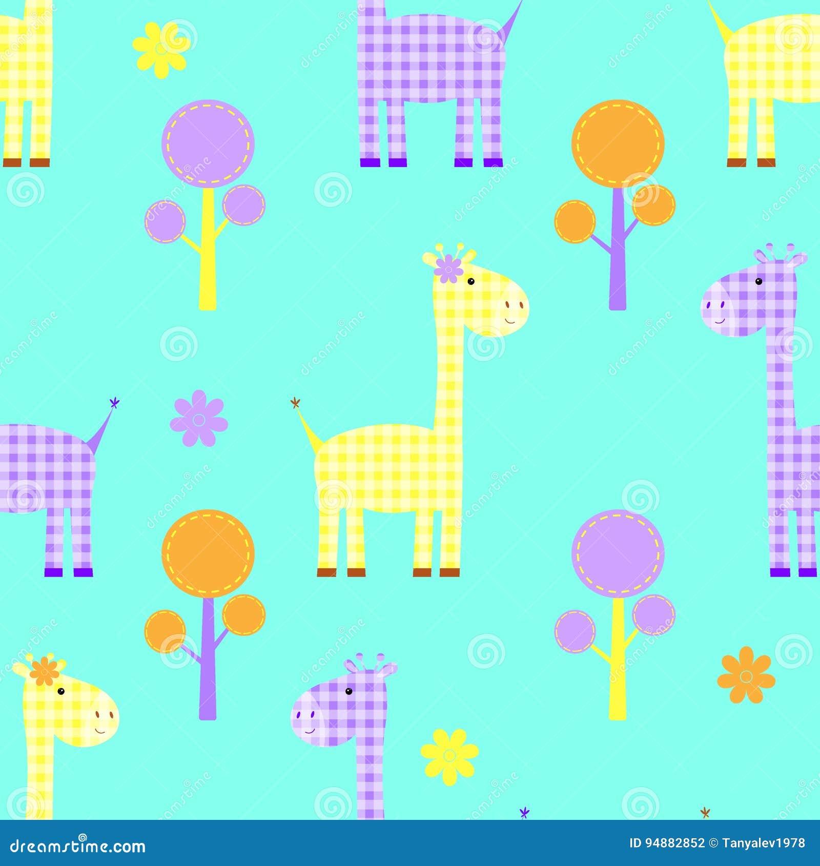 Modelo infantil inconsútil de la jirafa linda