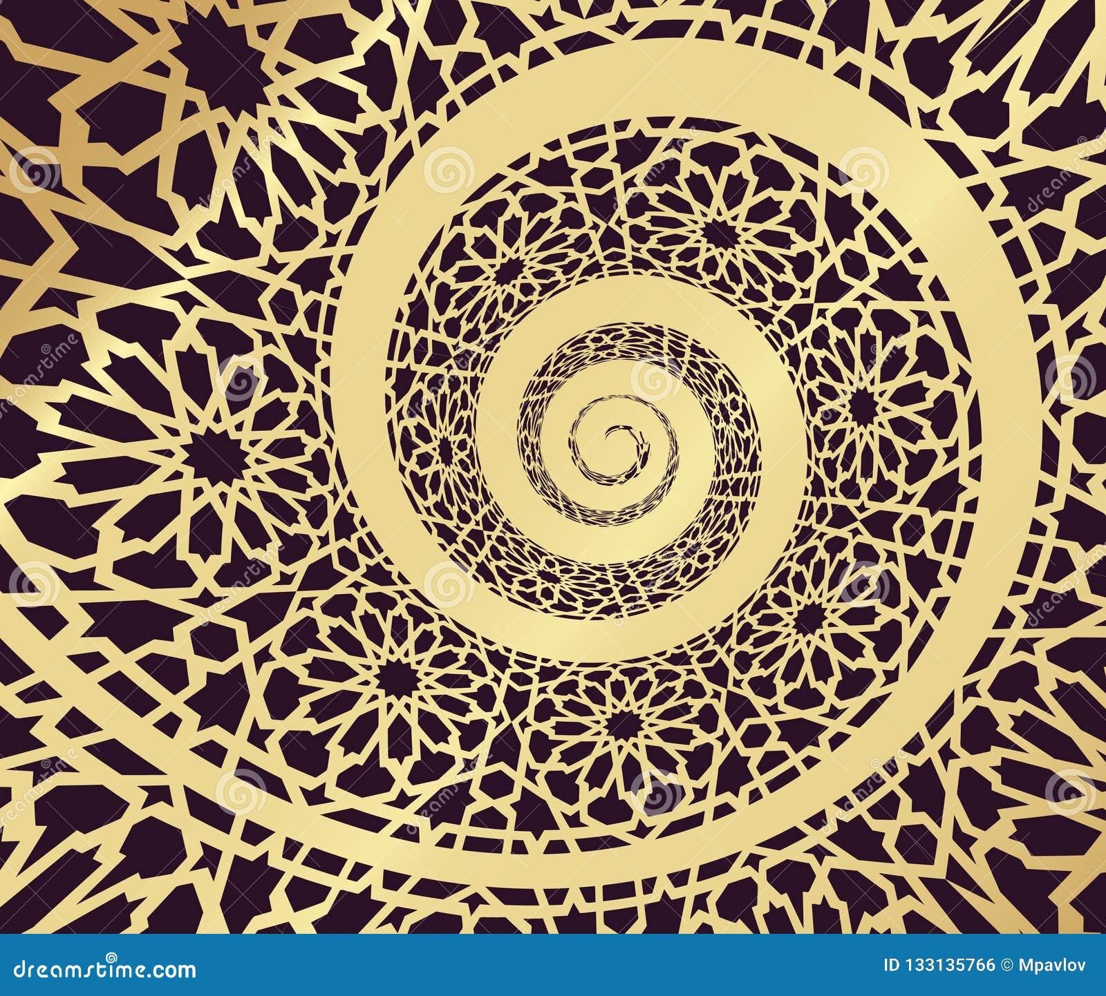 Modelo islámico, remolinado en forma del espiral 3d