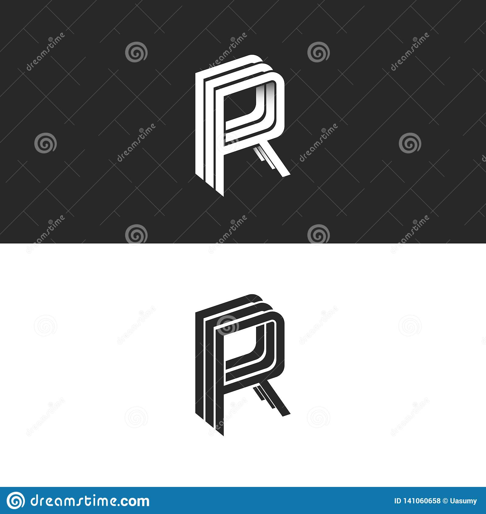 Modelo isométrico do símbolo do emblema RRR do logotipo da letra R, molde preto e branco do elemento do projeto do moderno do mon