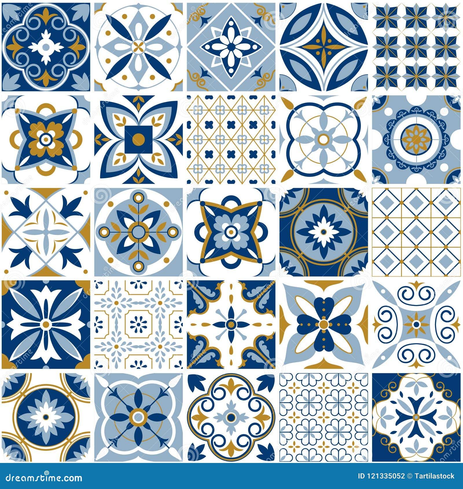 Modelo marroquí Textura de la teja de la decoración con el ornamento azul Cerámica árabe e india tradicional que teja modelos inc