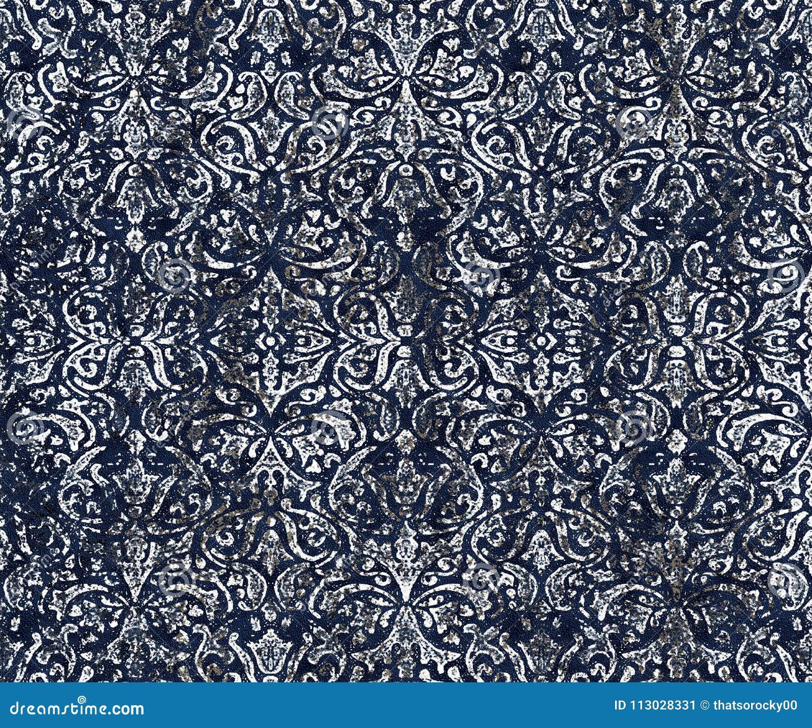 Modelo moderno de la repetición de la textura del teñido anudado del damasco del batik