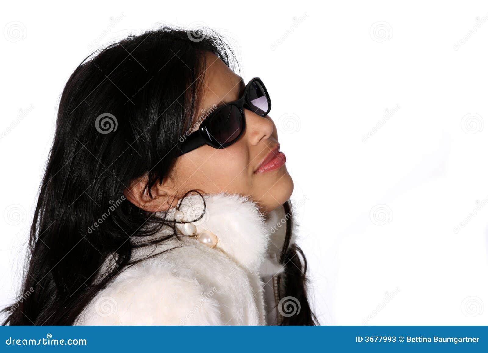 Modelo no casaco de pele