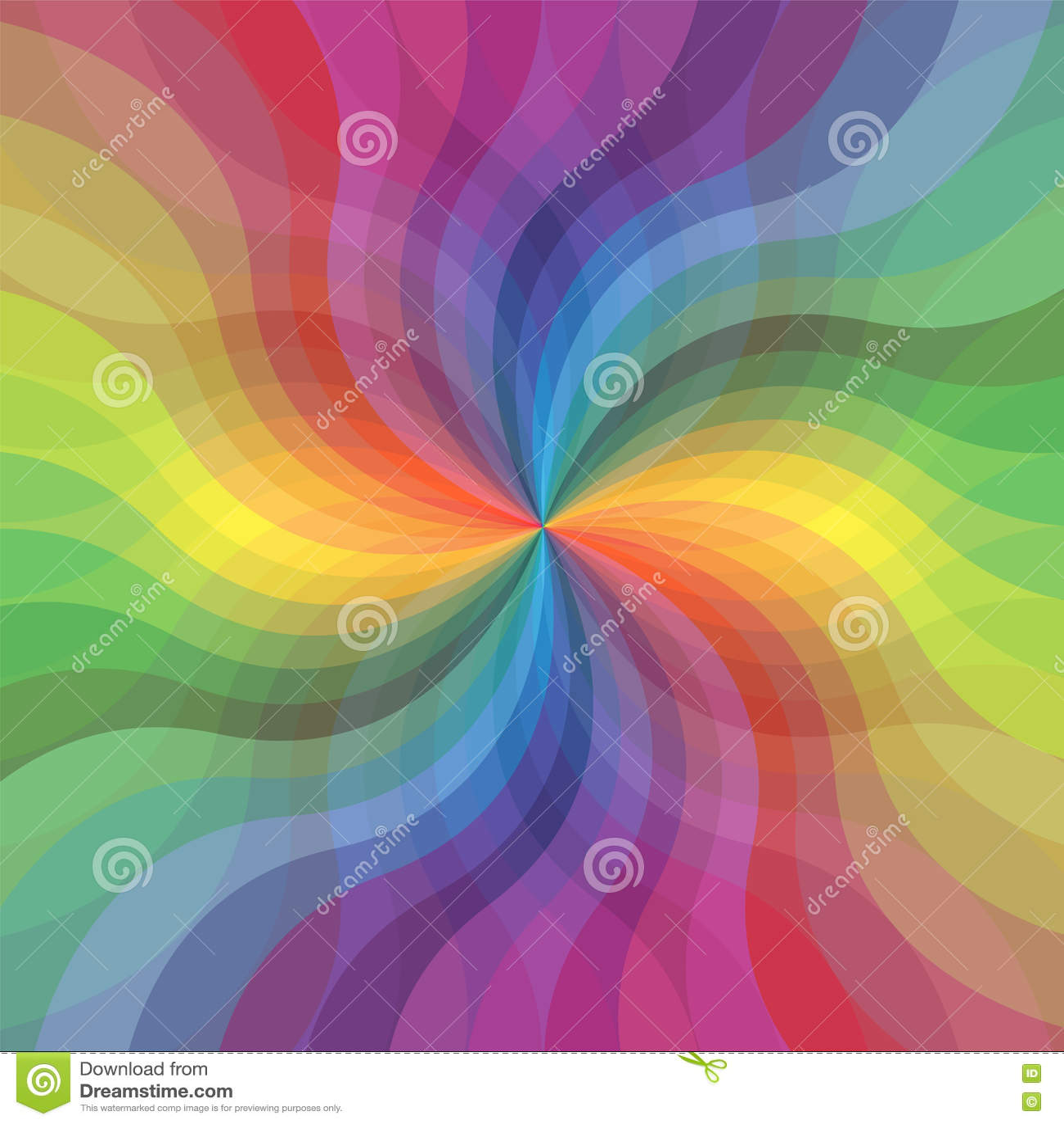 Modelo ondulado transparente de las rayas del arco iris Rayas de extensión que corren del centro Flor abstracta