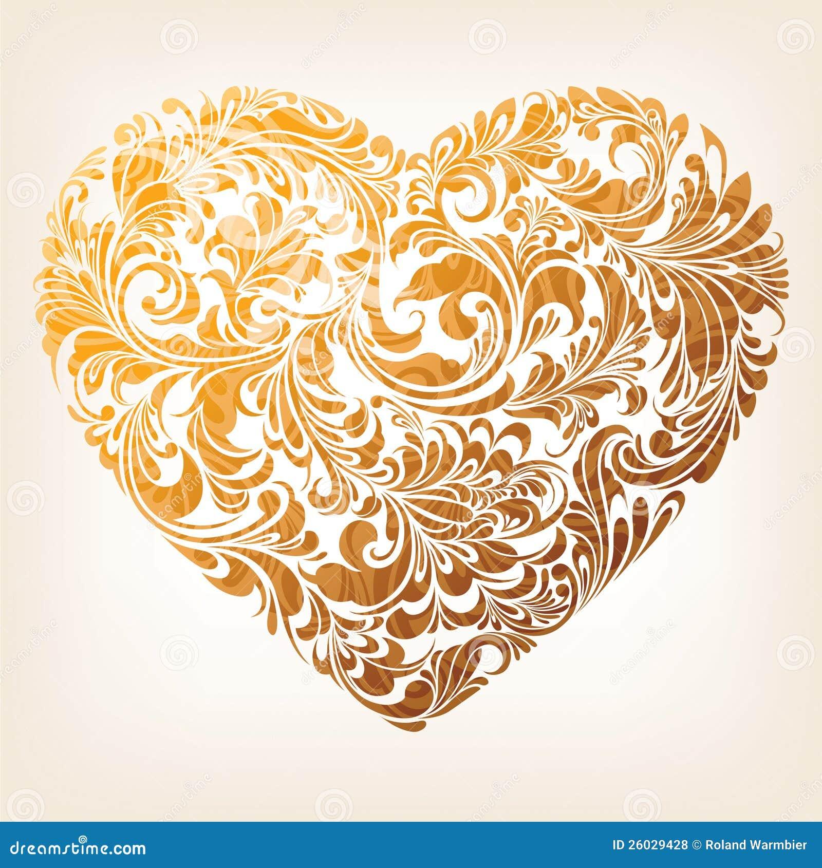 Modelo ornamental del corazón del oro