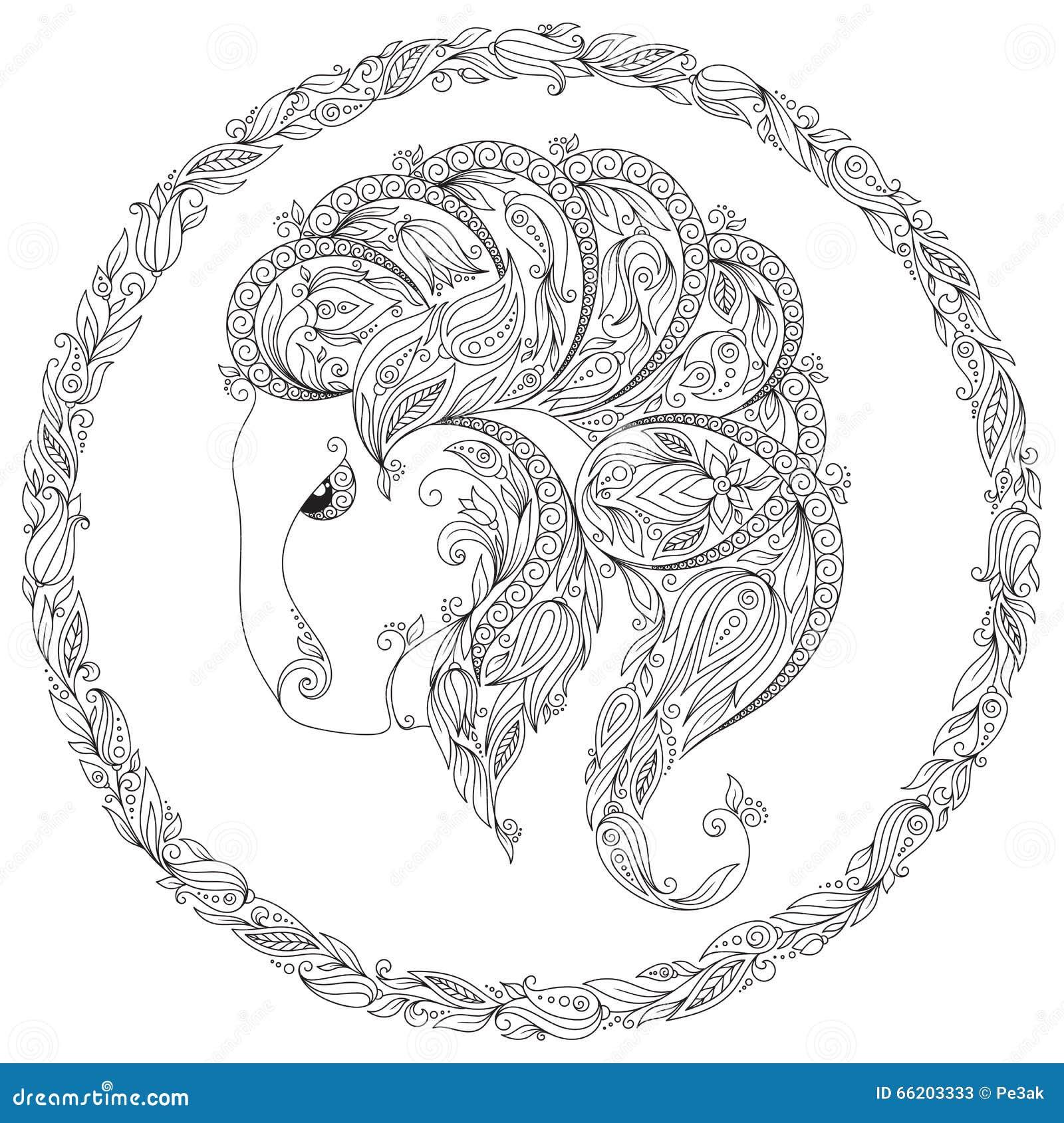 Modelo Para El Libro De Colorear Animal De La Fantasía Ilustración