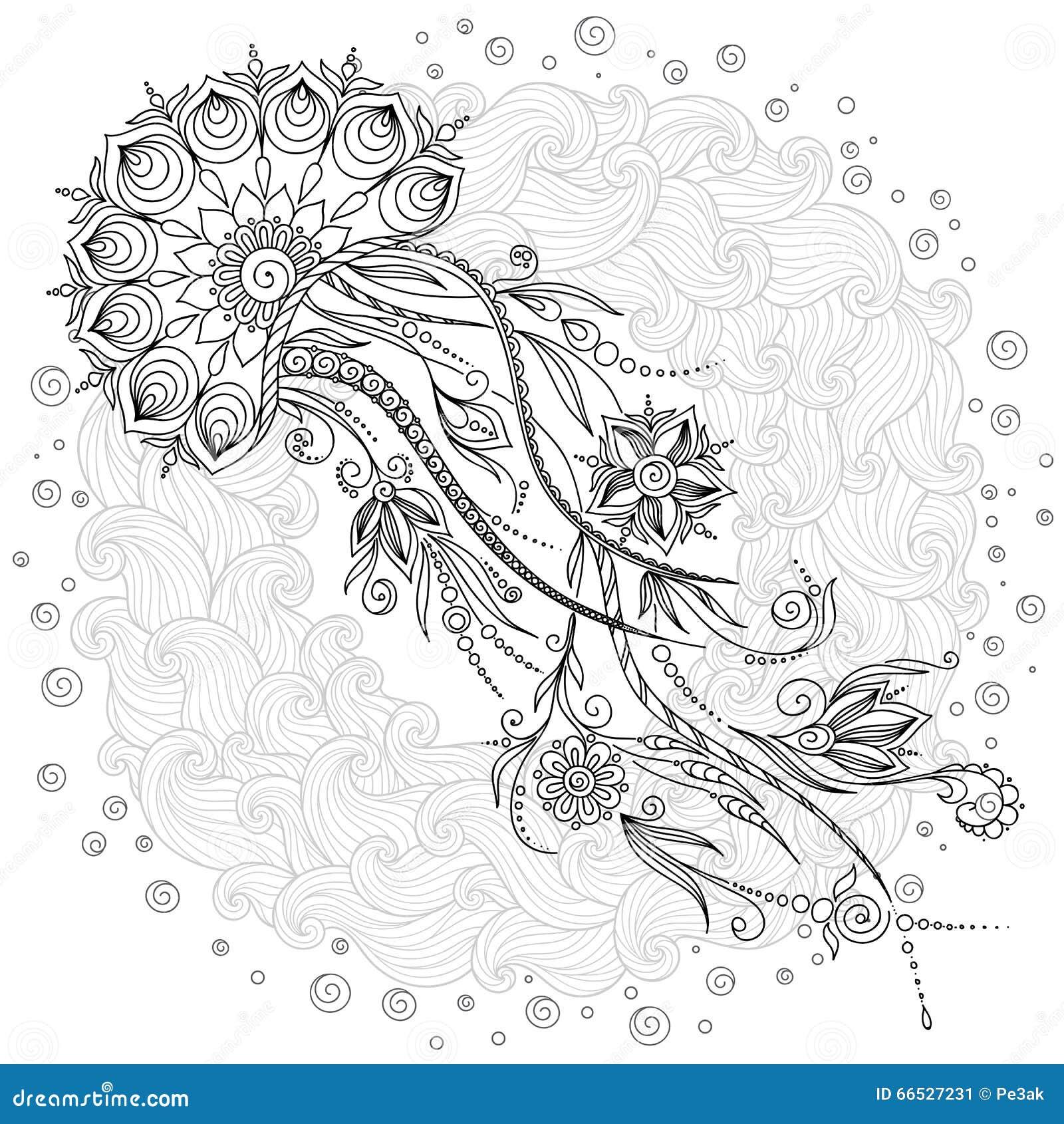 Modelo Para El Libro De Colorear Medusas En Vector Ilustración del ...