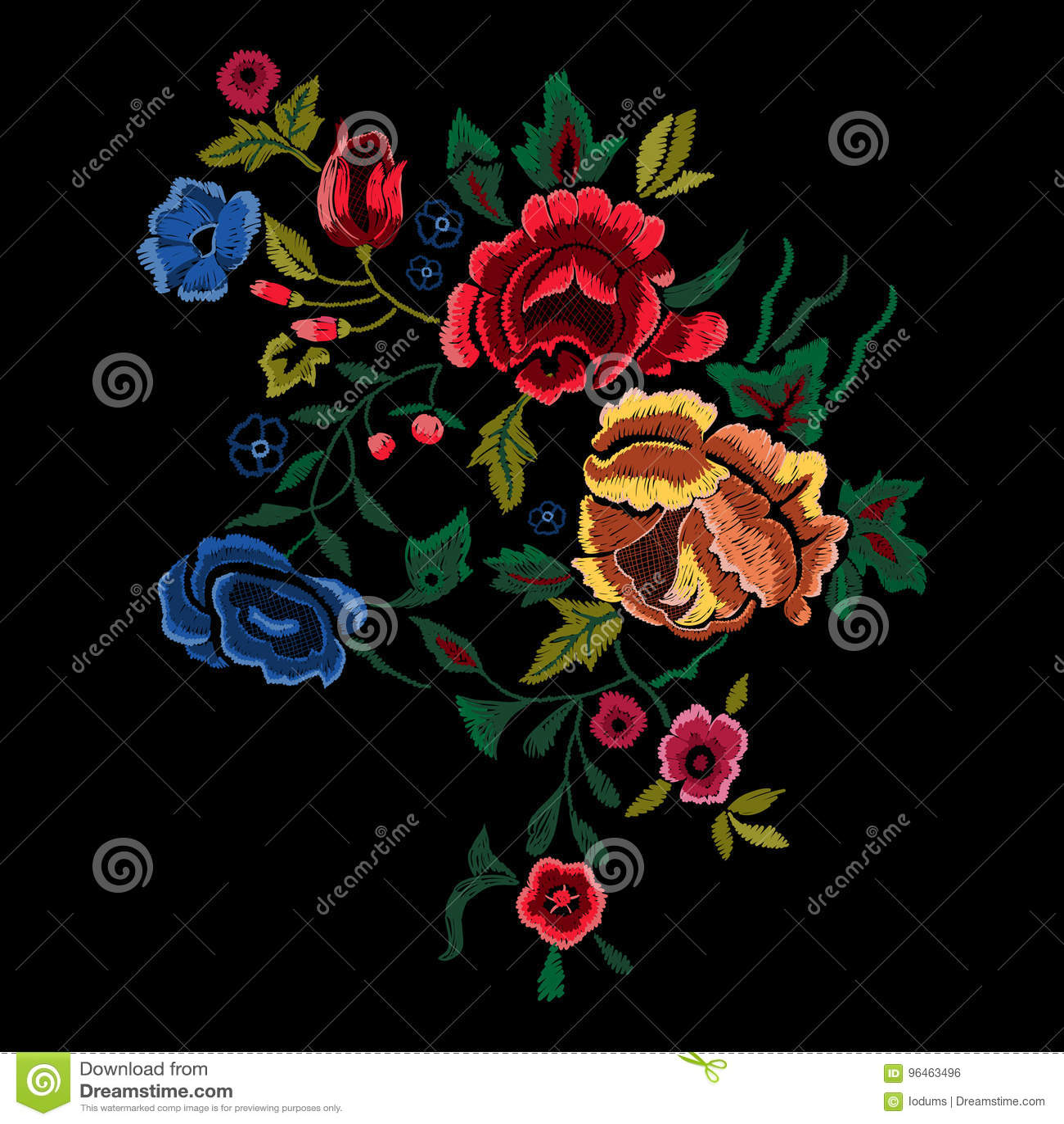 Modelo Popular Botánico Del Bordado Con Las Rosas Rojas Y Azules
