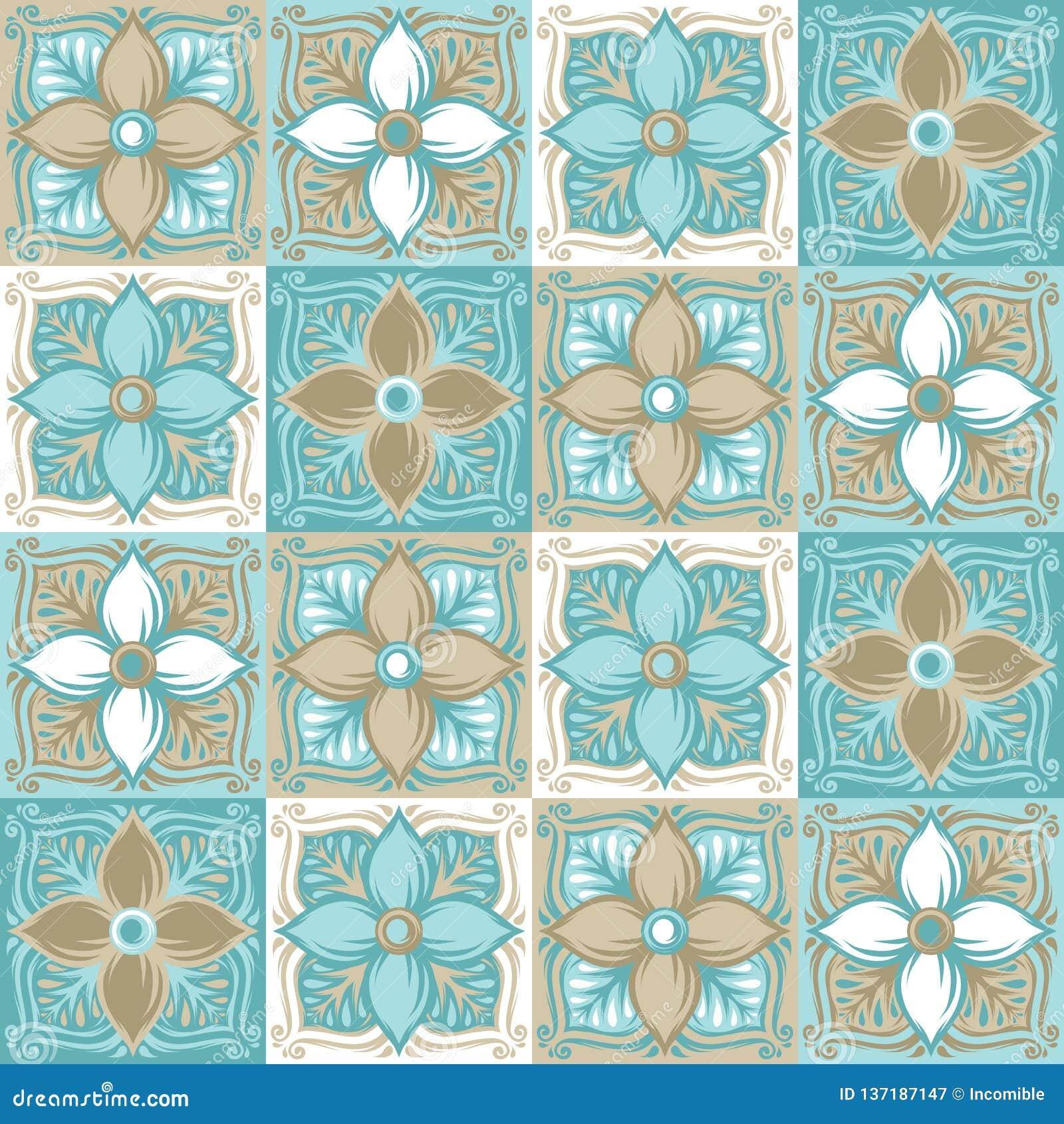 Modelo portugués de la baldosa cerámica del azulejo