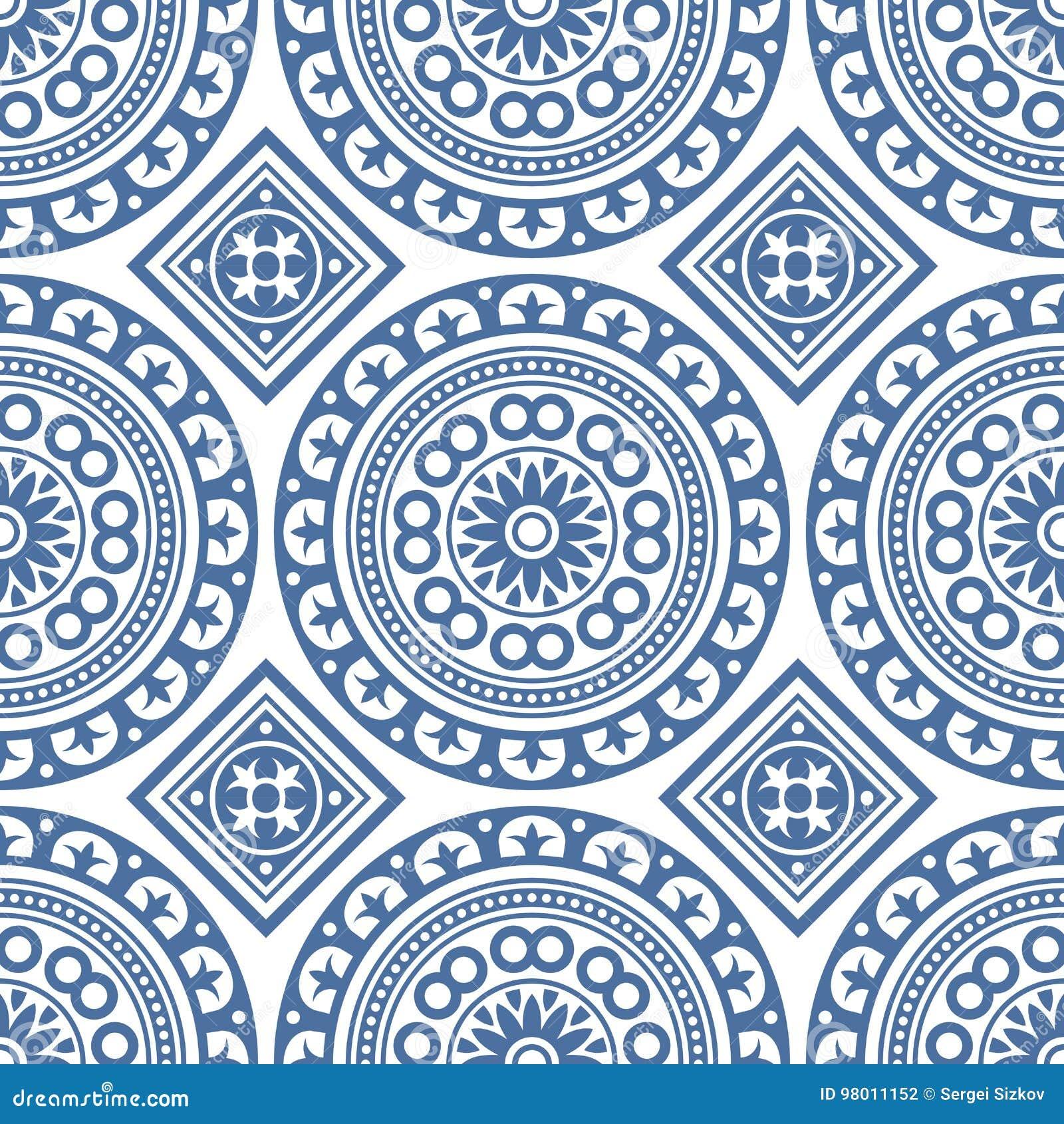 Modelo portugués inconsútil del azul de la teja de Azulejo Vector