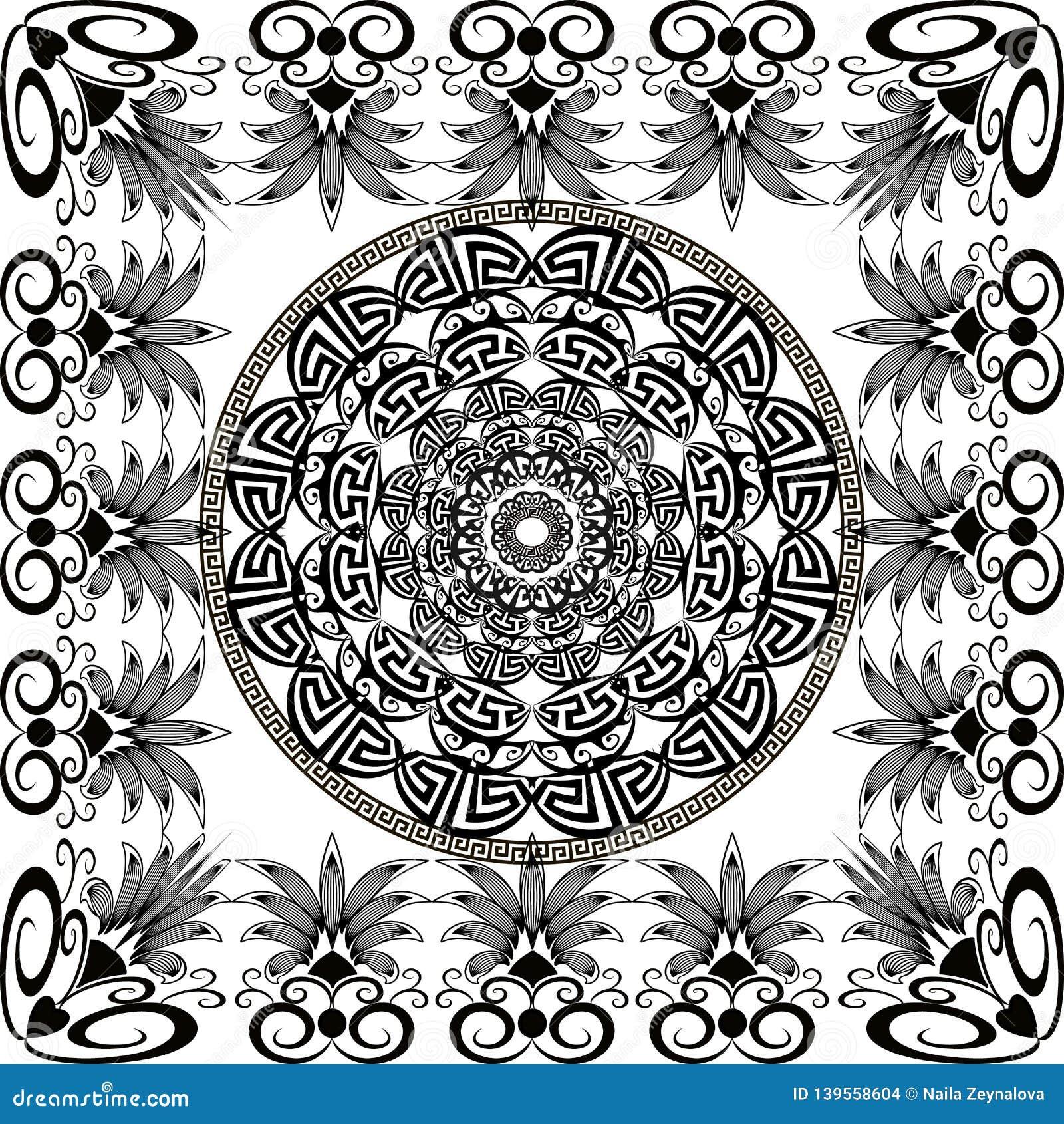 Modelo redondo blanco y negro de la mandala del vector griego Fondo moderno ornamental con el marco cuadrado floral Formas geomét