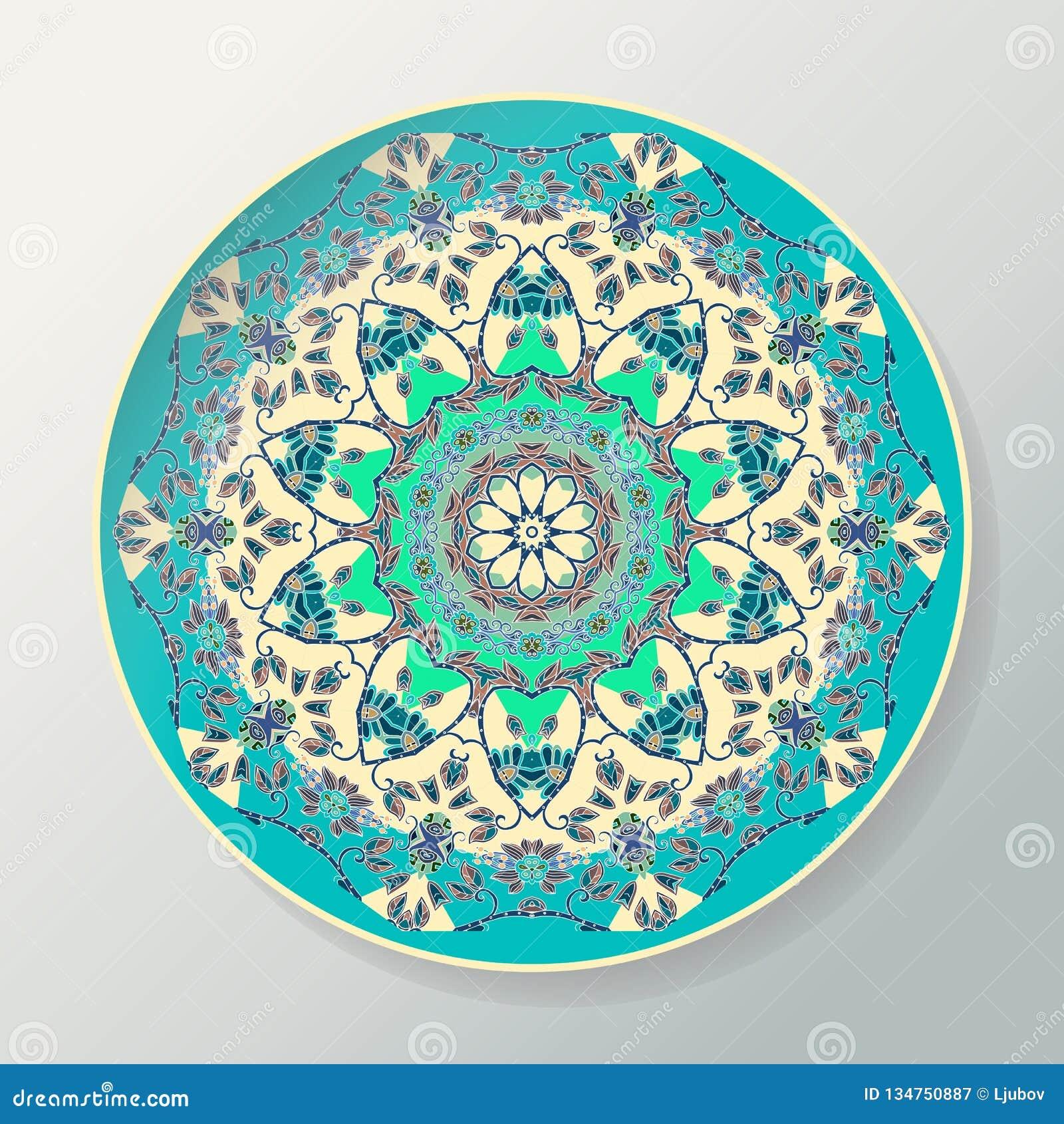 Modelo redondo de la mandala Placa de cerámica decorativa del vector con el ornamento en estilo étnico
