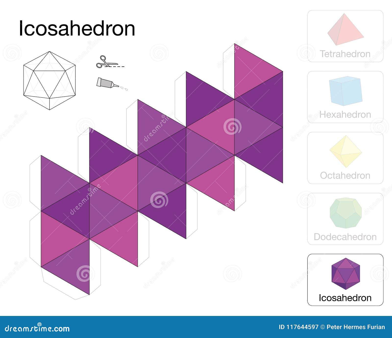 Modelo Sólido Platónico Del Papel De La Plantilla Del Icosahedron ...