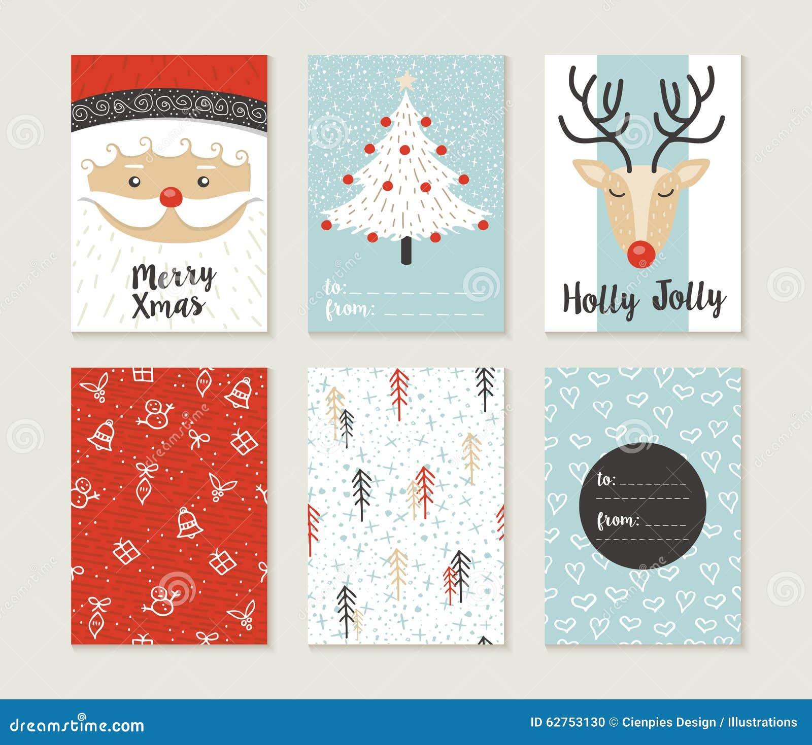 Modelo santa lindo retro del sistema de tarjeta de la Feliz Navidad