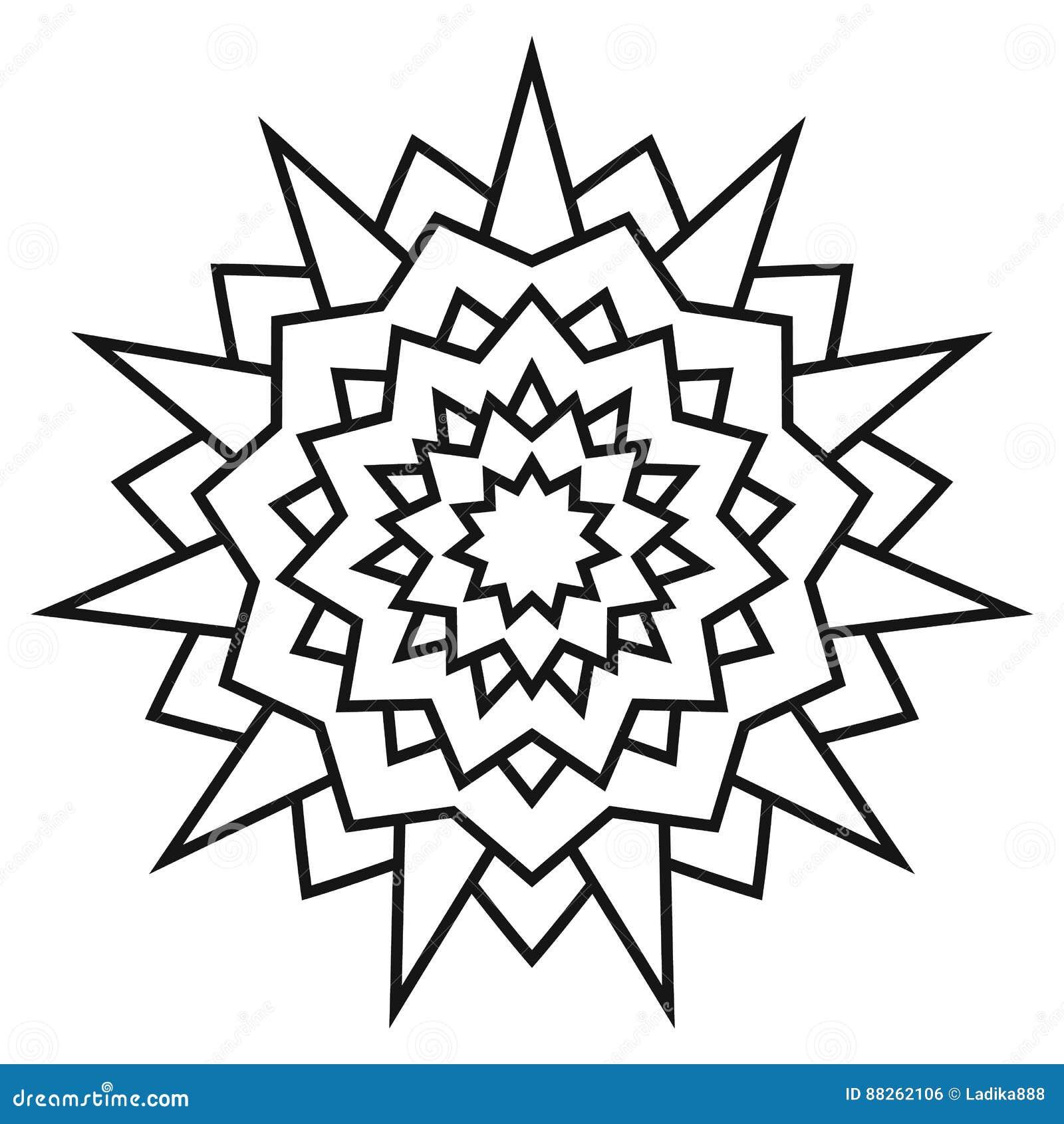 Modelo Simétrico Circular étnico Mandala Blanco Y Negro Para