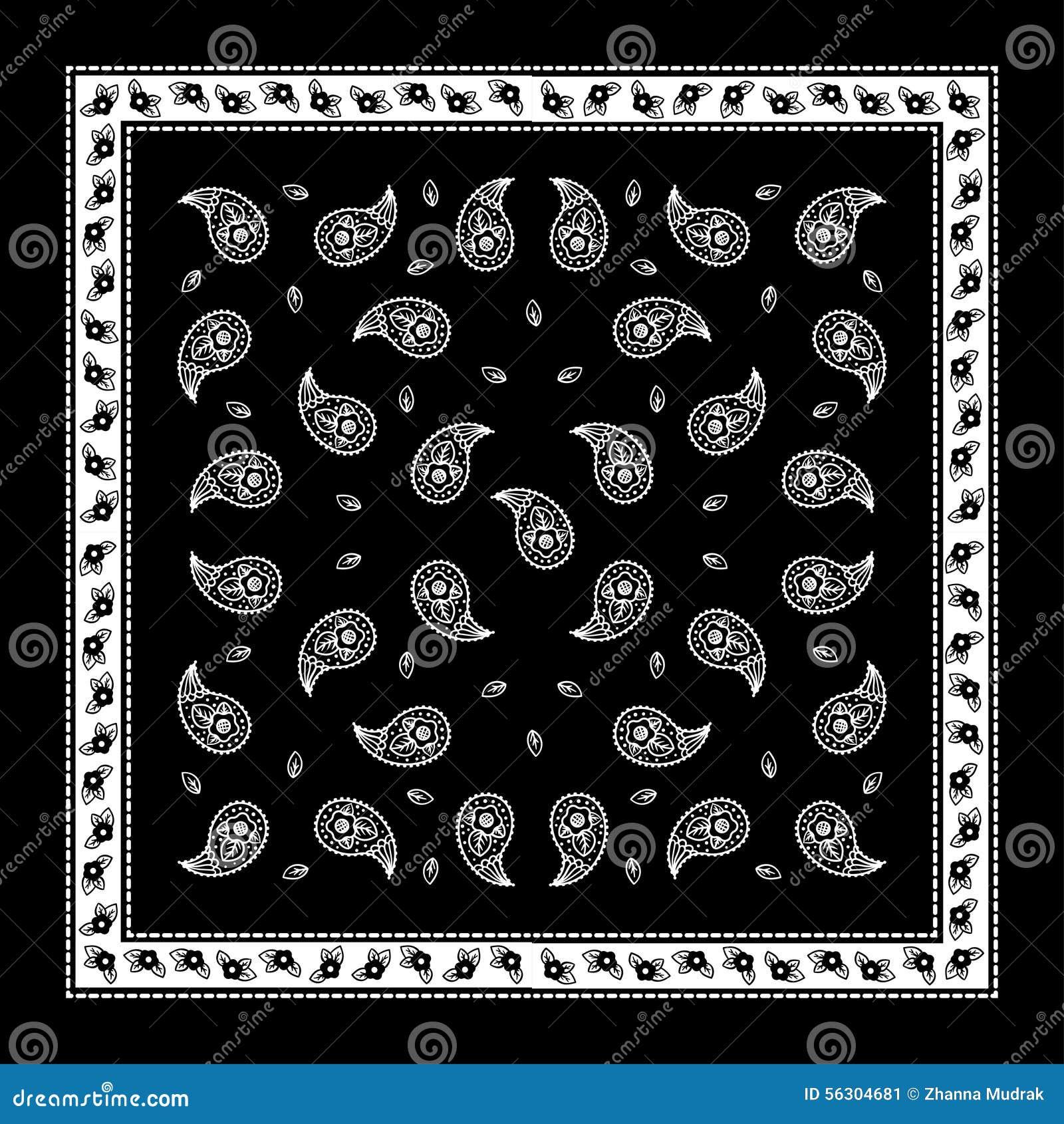 76ba510b Modelo Simple Del Pañuelo Negro De Paisley Ilustración del Vector ...