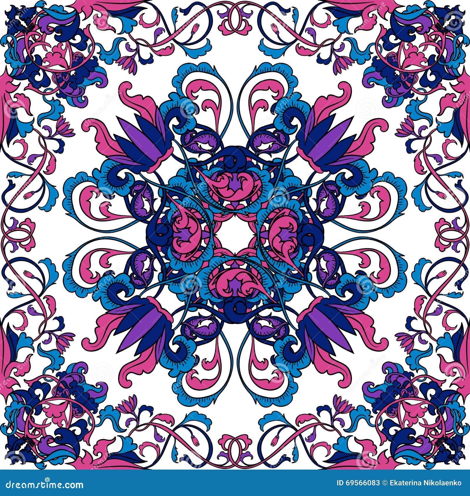 Modelo tailandés del arte Ornamento inconsútil floral oriental Vector dibujado mano colorida