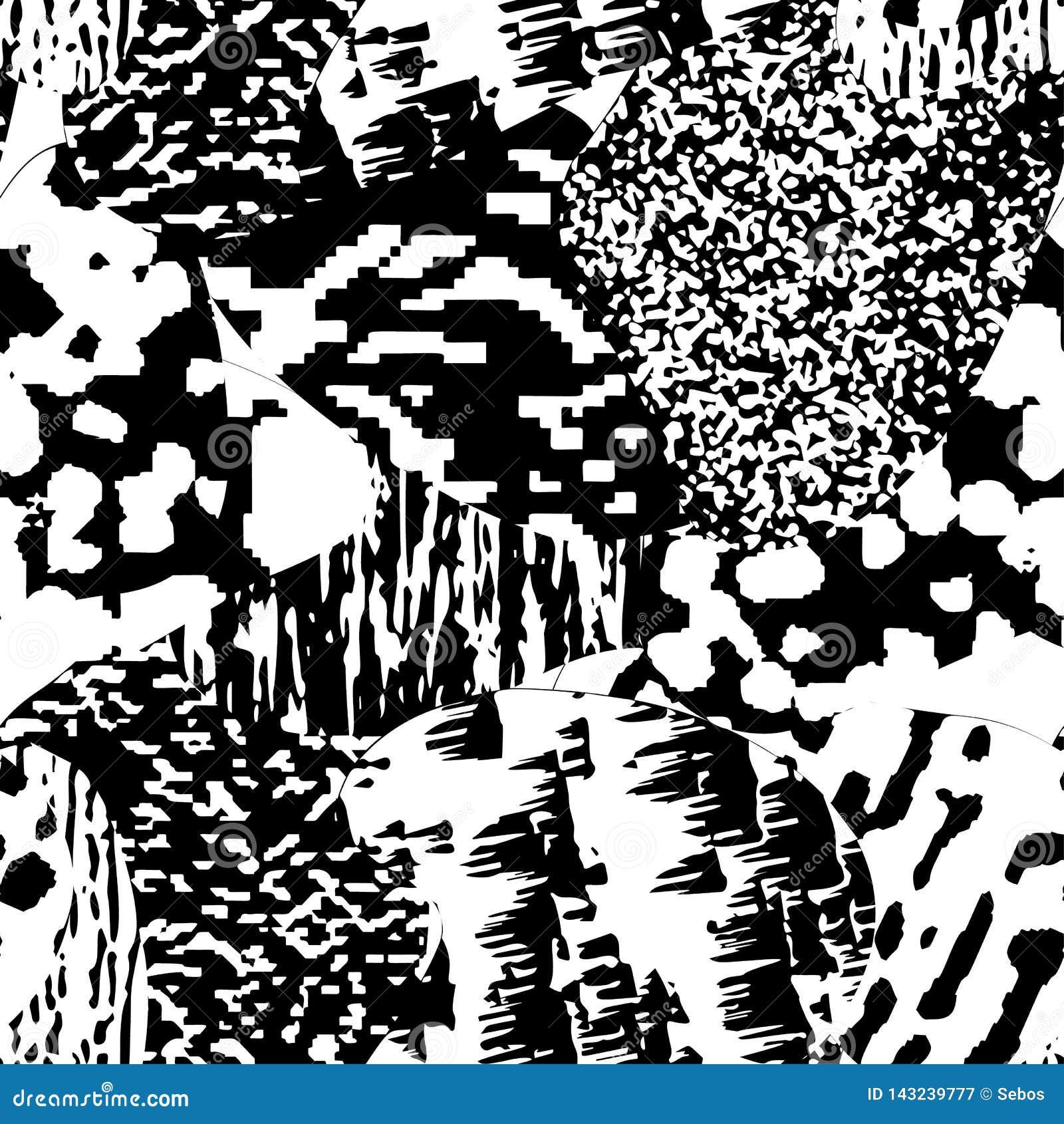 Modelo texturizado, monocromático moderno inconsútil del grunge Fondo con el ornamento gráfico blanco y negro