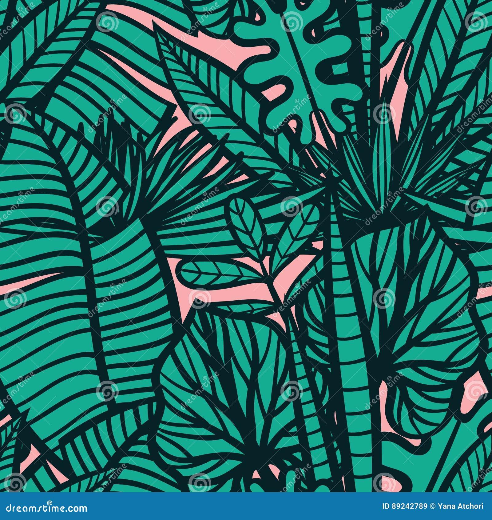 Modelo tropical inconsútil con las hojas