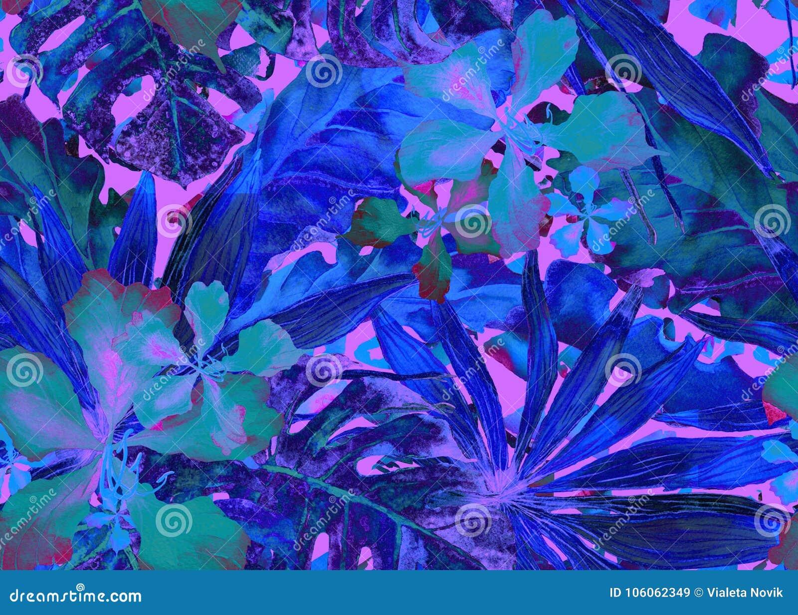 Modelo tropical Palma de Tailandia de la acuarela, monstera, hibisco, árbol de plátano