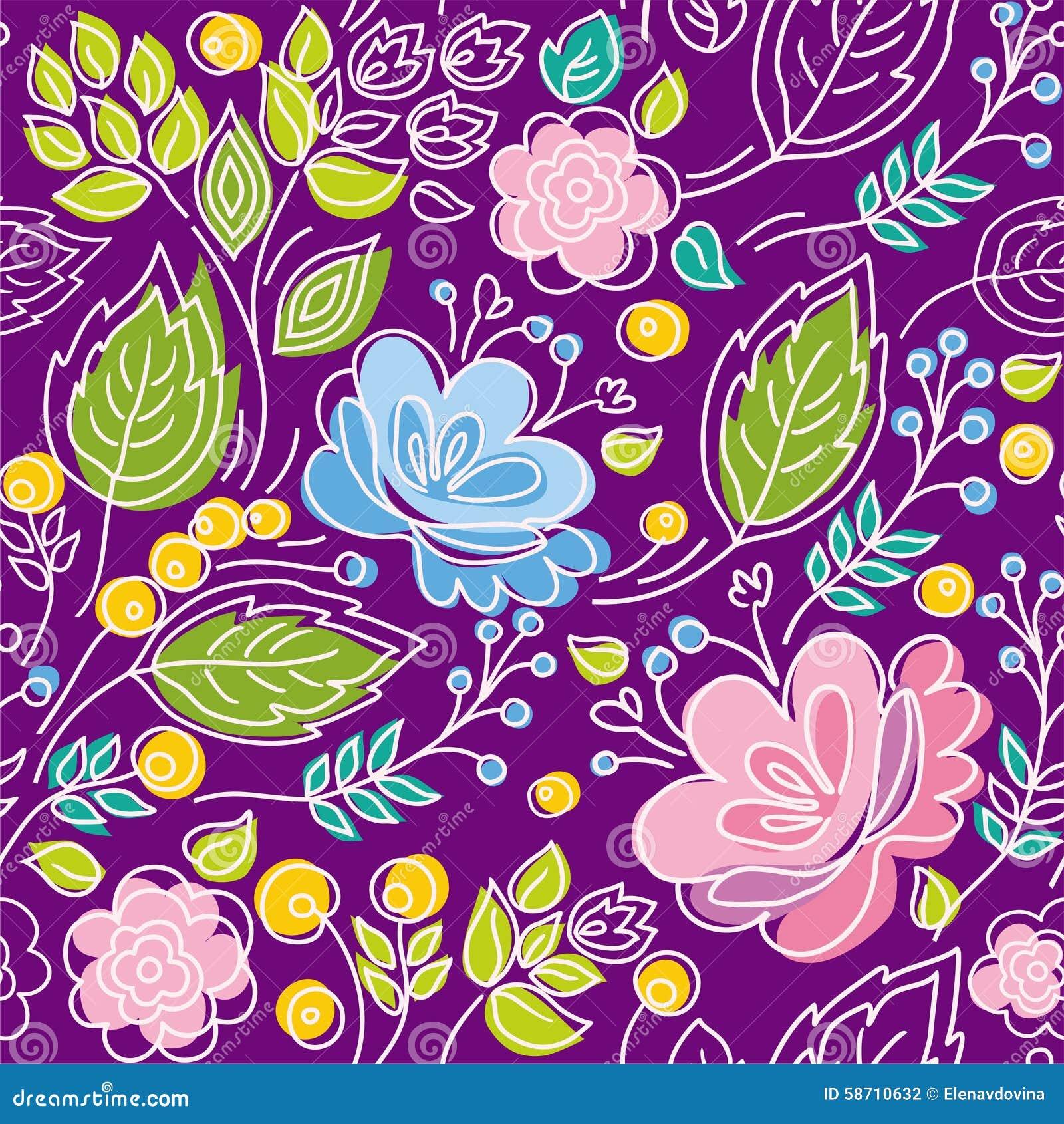 Modelo Violeta Inconsútil Azul Flores Rosadas Hojas
