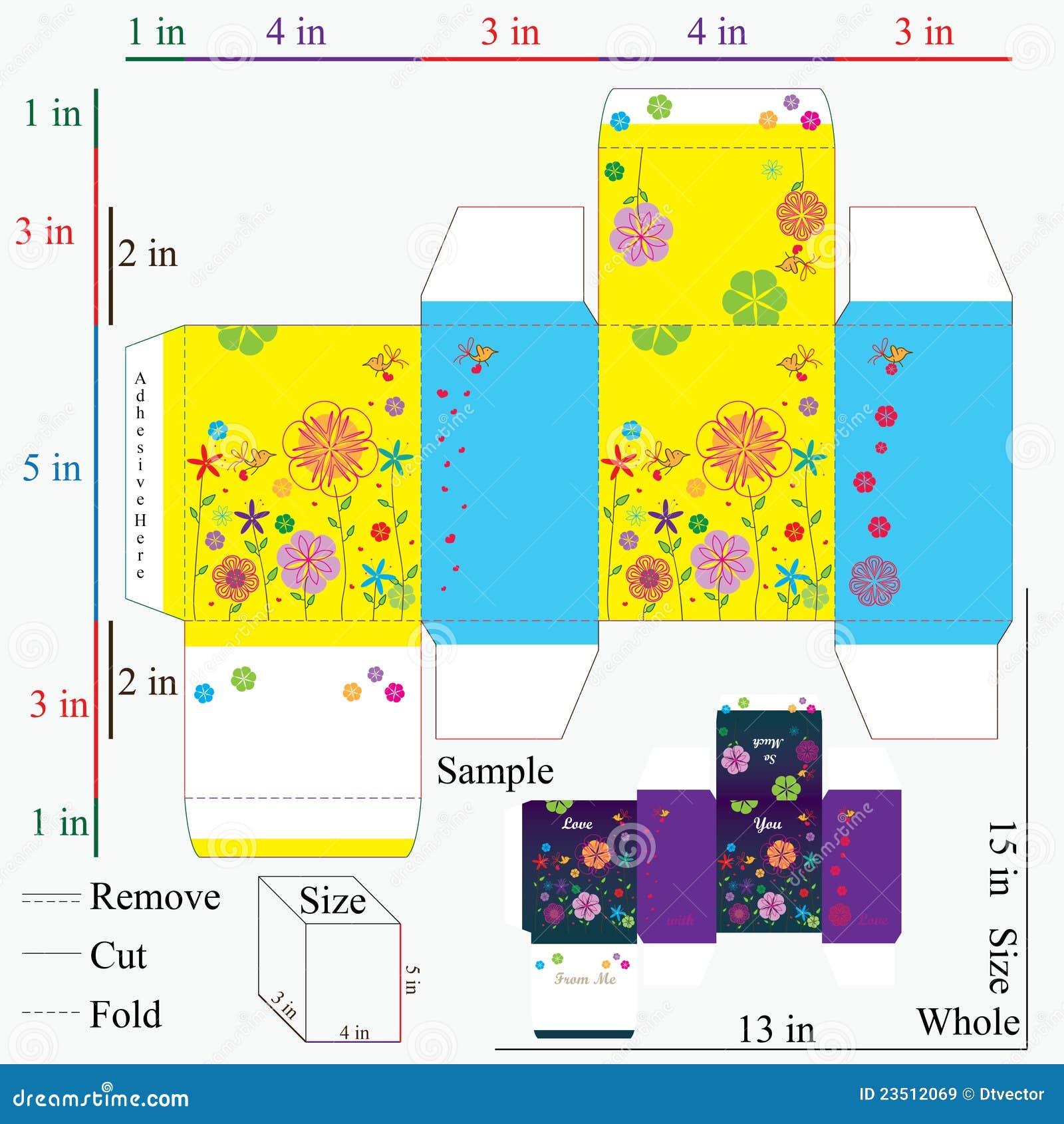 Modelo y diseño del rectángulo de regalo