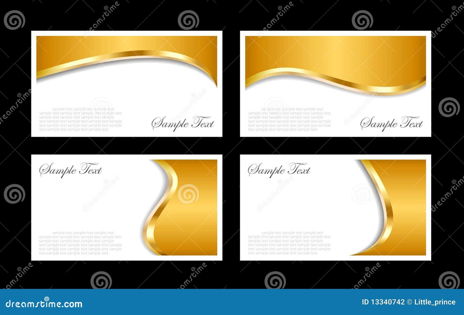 Modelos de las tarjetas de visita del oro
