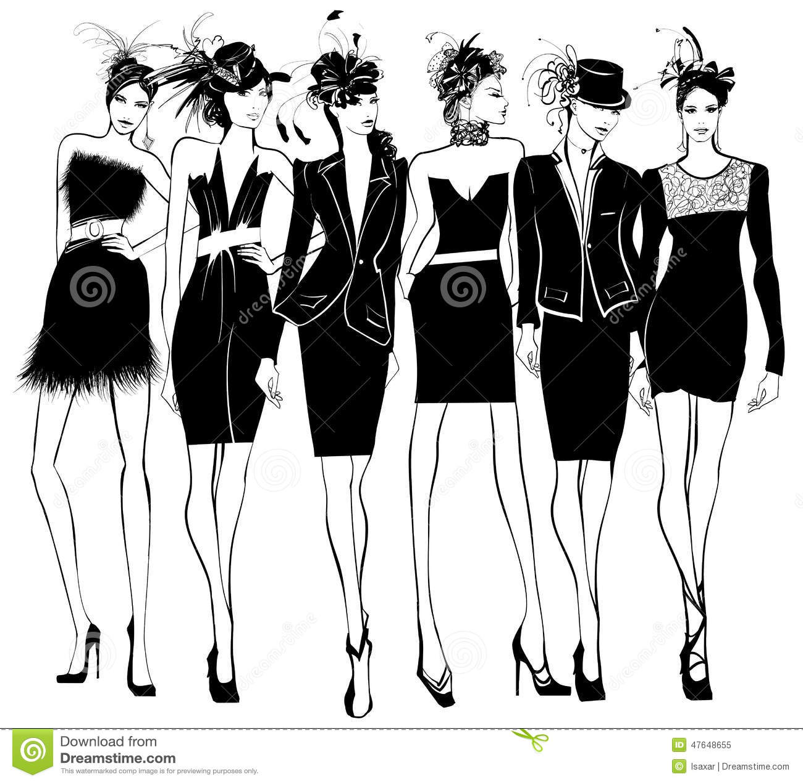Modelos De Moda De Las Mujeres En Vestido Y Sombrero Negros De La ...