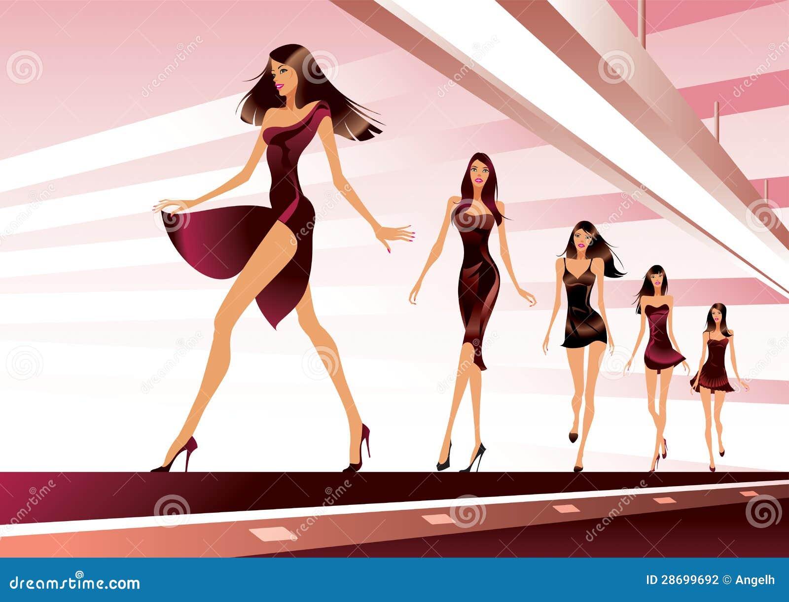 Modelos de moda en pista