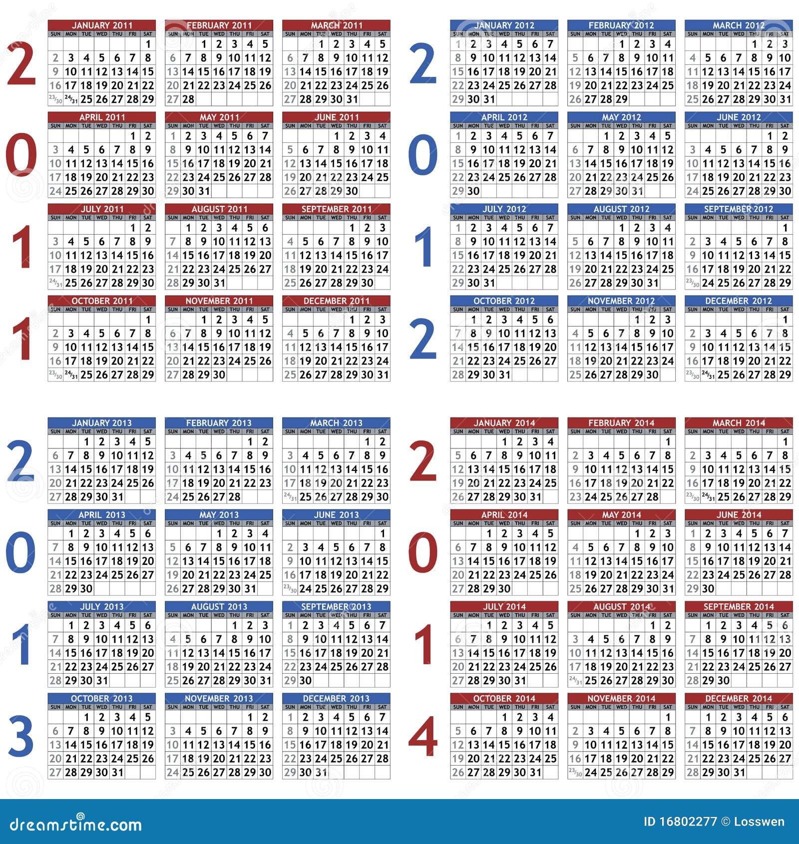 de archivo libre de regalías: Modelos del calendario para 2011 - 2014