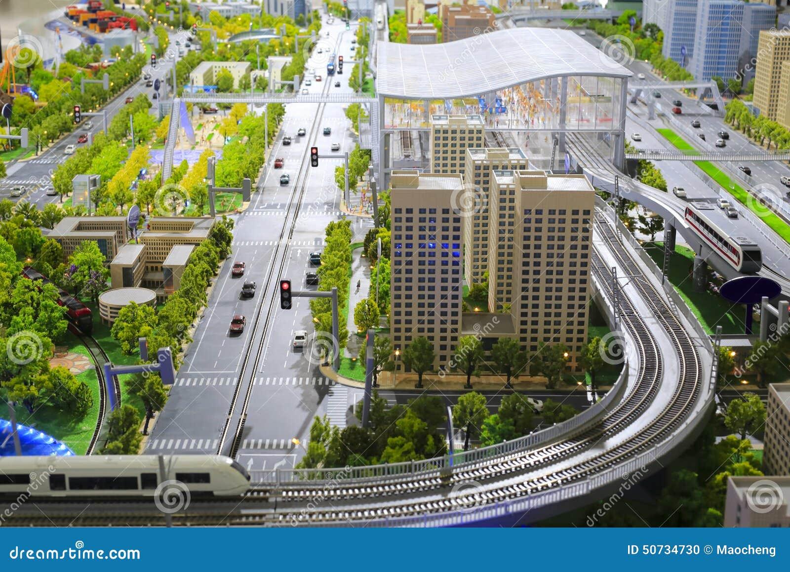 Modelos Do Sistema De Transporte Público Urbano Foto De Stock