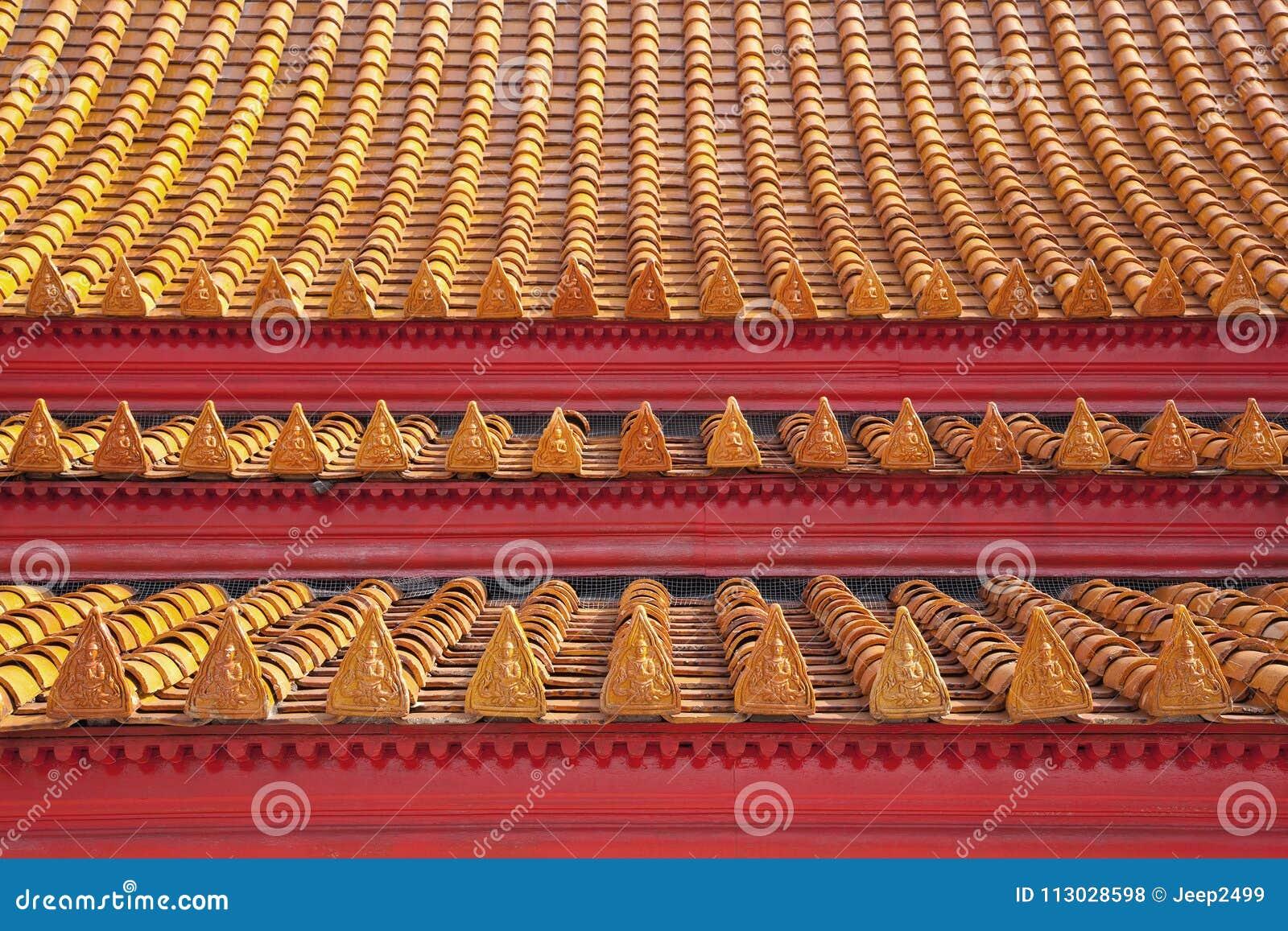 Modelos hermosos del color de las tejas de tejado del templo