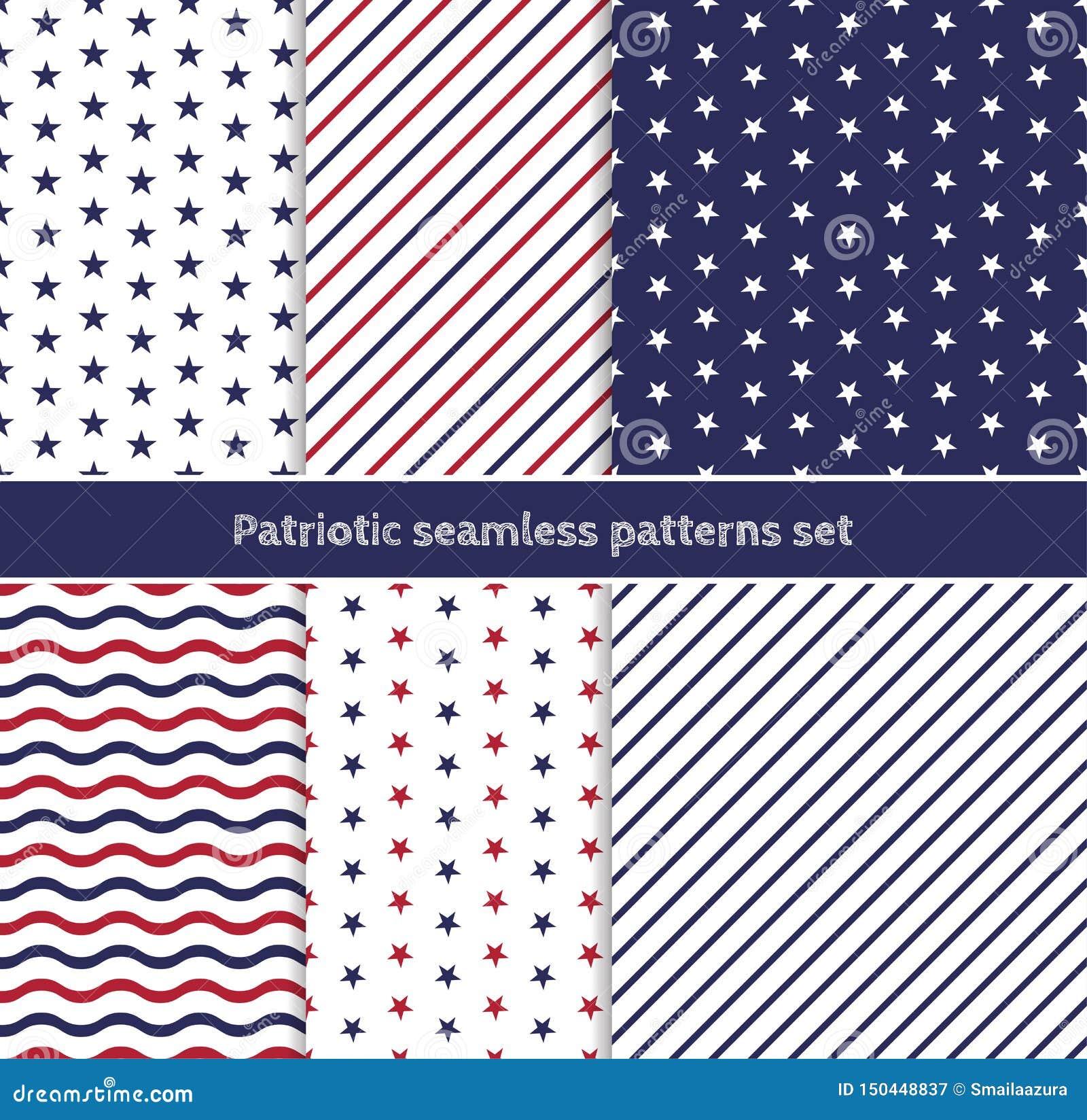 Modelos inconsútiles americanos patrióticos fijados con las rayas y las estrellas en colores rojos, azules y blancos tradicionale