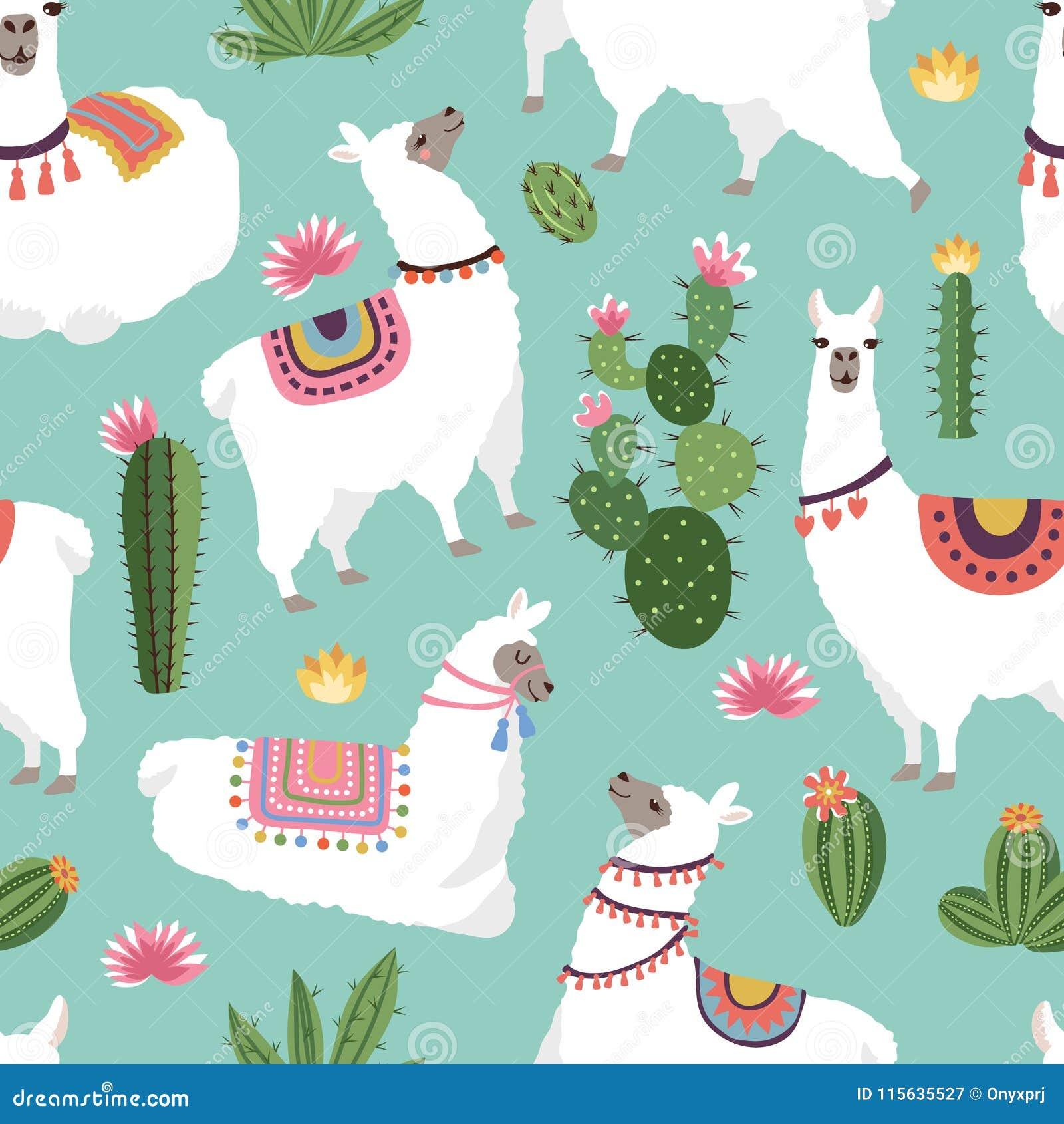 Modelos inconsútiles de la tela de materia textil con los ejemplos de la llama y del cactus