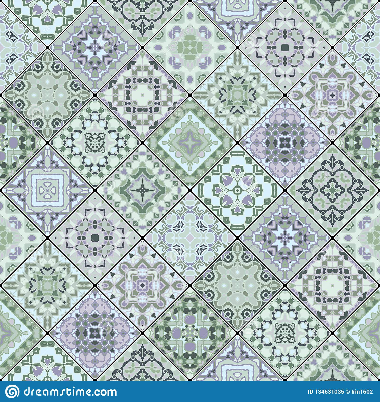 Modelos inconsútiles decorativos cuadrados en estilo étnico en un sistema diagonal de tejas