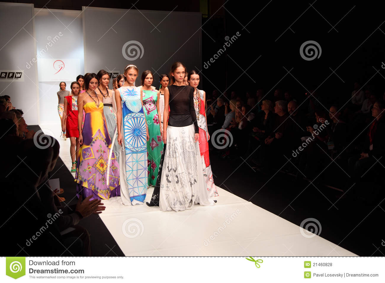 Modern dress clothes for a woman - Models Go On Catwalk At Fashion Show Editorial Stock Photo Image