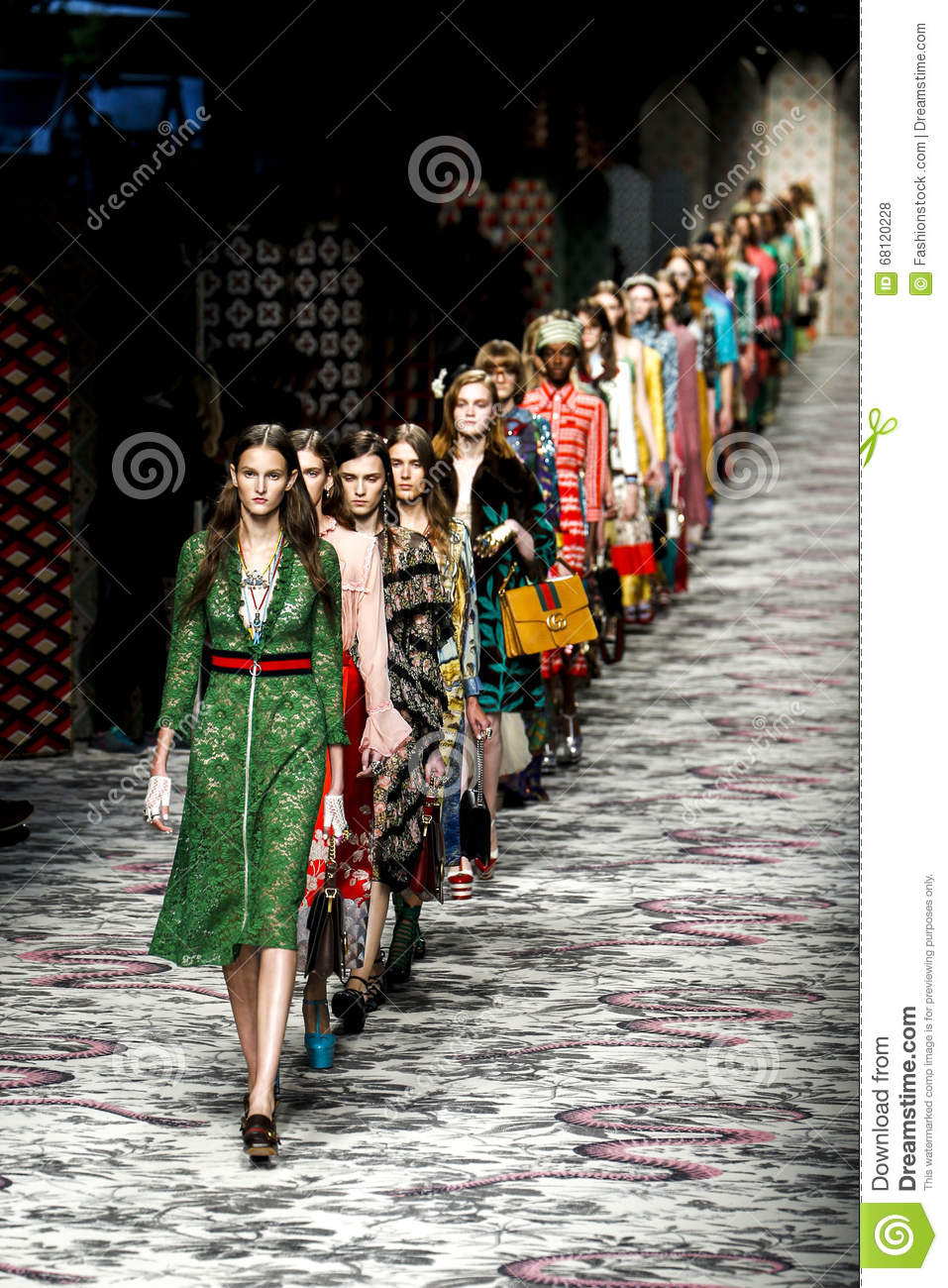 Models walk the runway finale during the Gucci show