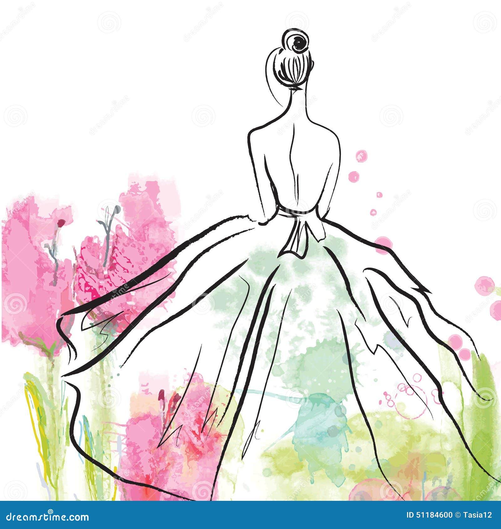 Modemädchen im schönen Kleid - Skizze