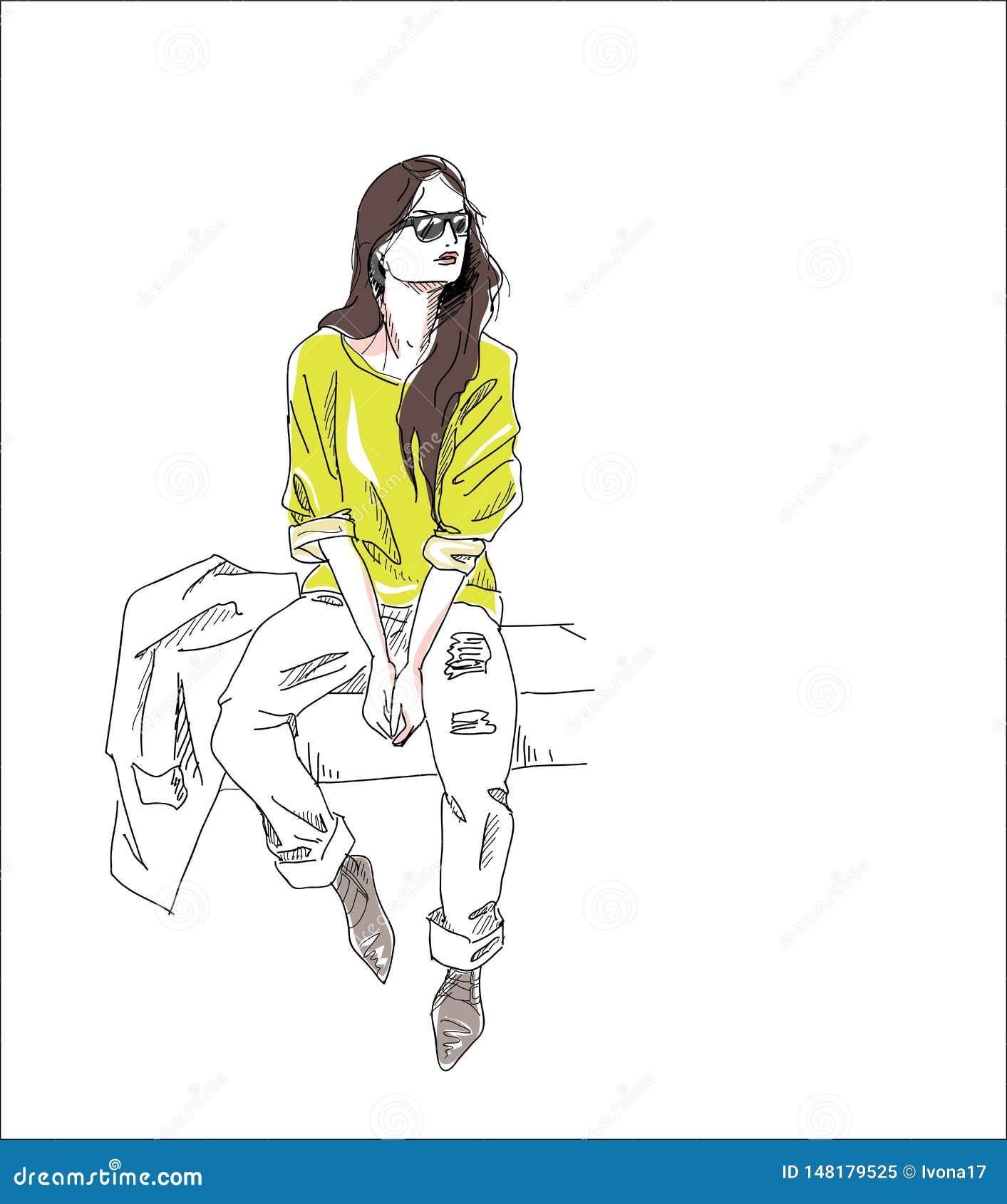 Modemädchenhintergrund sitzen die lokalisierte Straße
