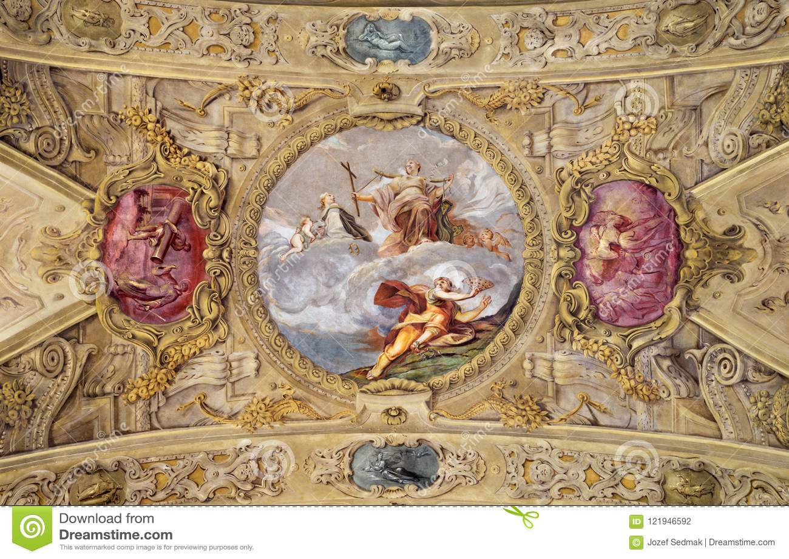 MODENA, ITALIË - APRIL 14, 2018: De barokke plafondfresko met St Barbara in kerk Chiesa Di San Barnaba