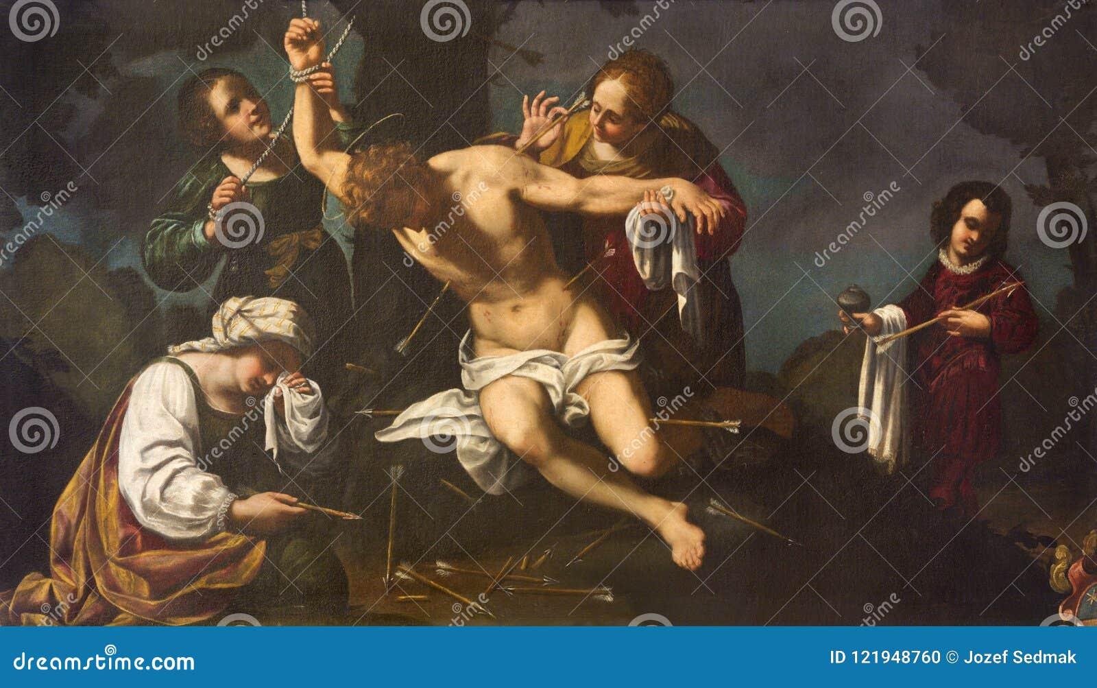 MODENA ITALIEN - APRIL 14, 2018: målningmartyrskap av St Sebastian i kyrkliga Chiesa di Santa Maria della Pomposa av Bernardino