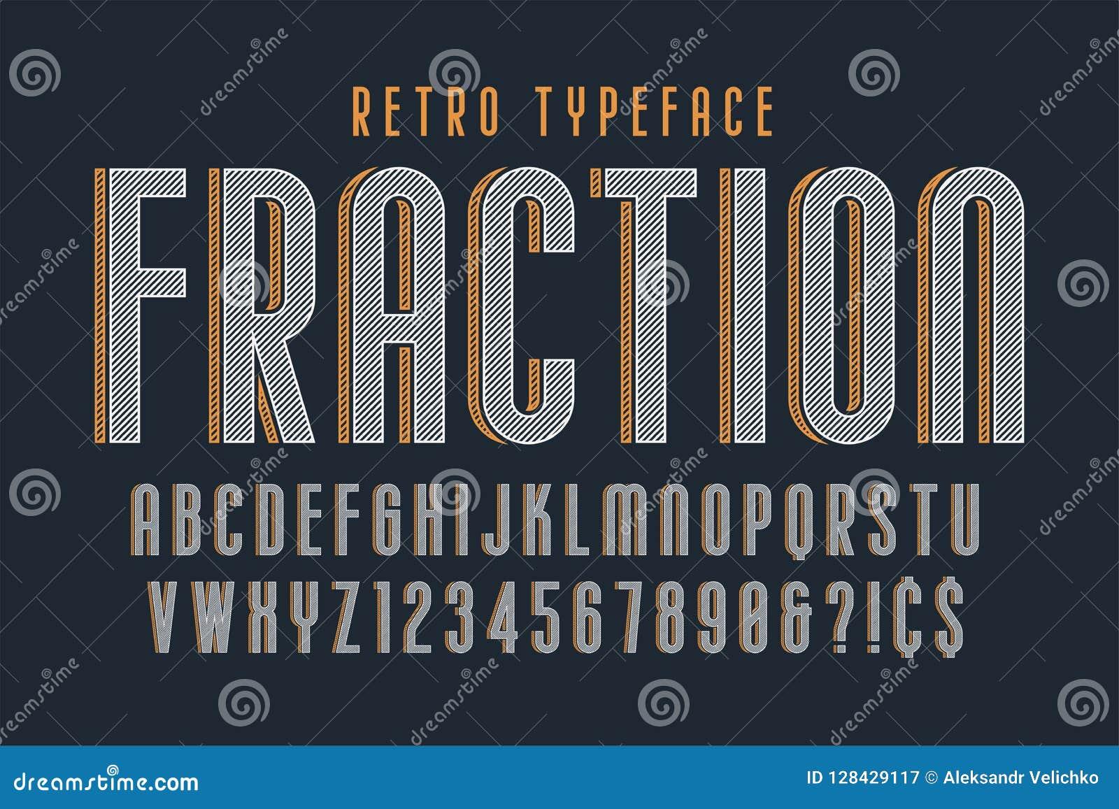 Moderiktig design för tappningskärmstilsort, alfabet, stilsort