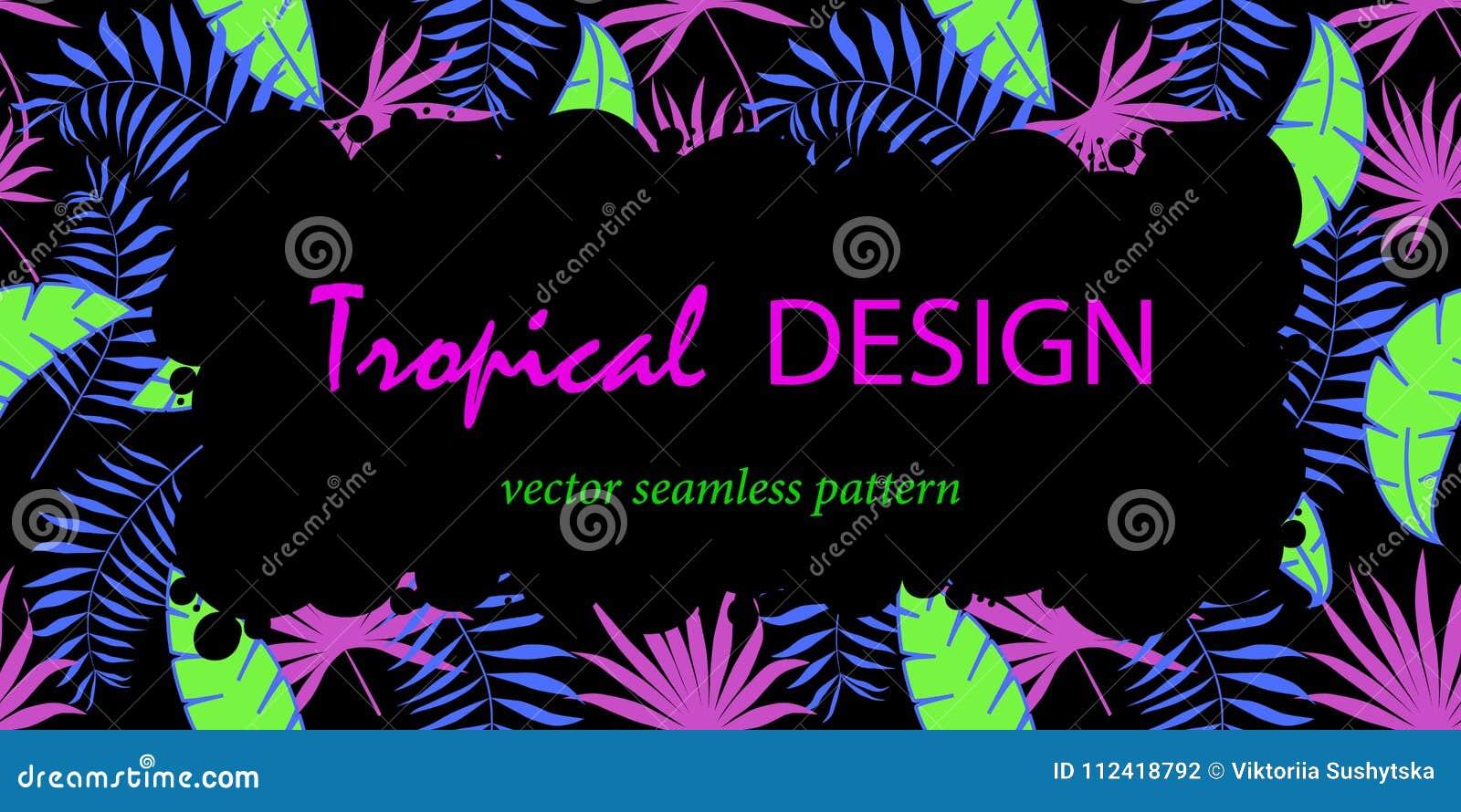 Moderiktig tropisk sidavektordesign Abstrakt begrepp formar Ramdesign för text