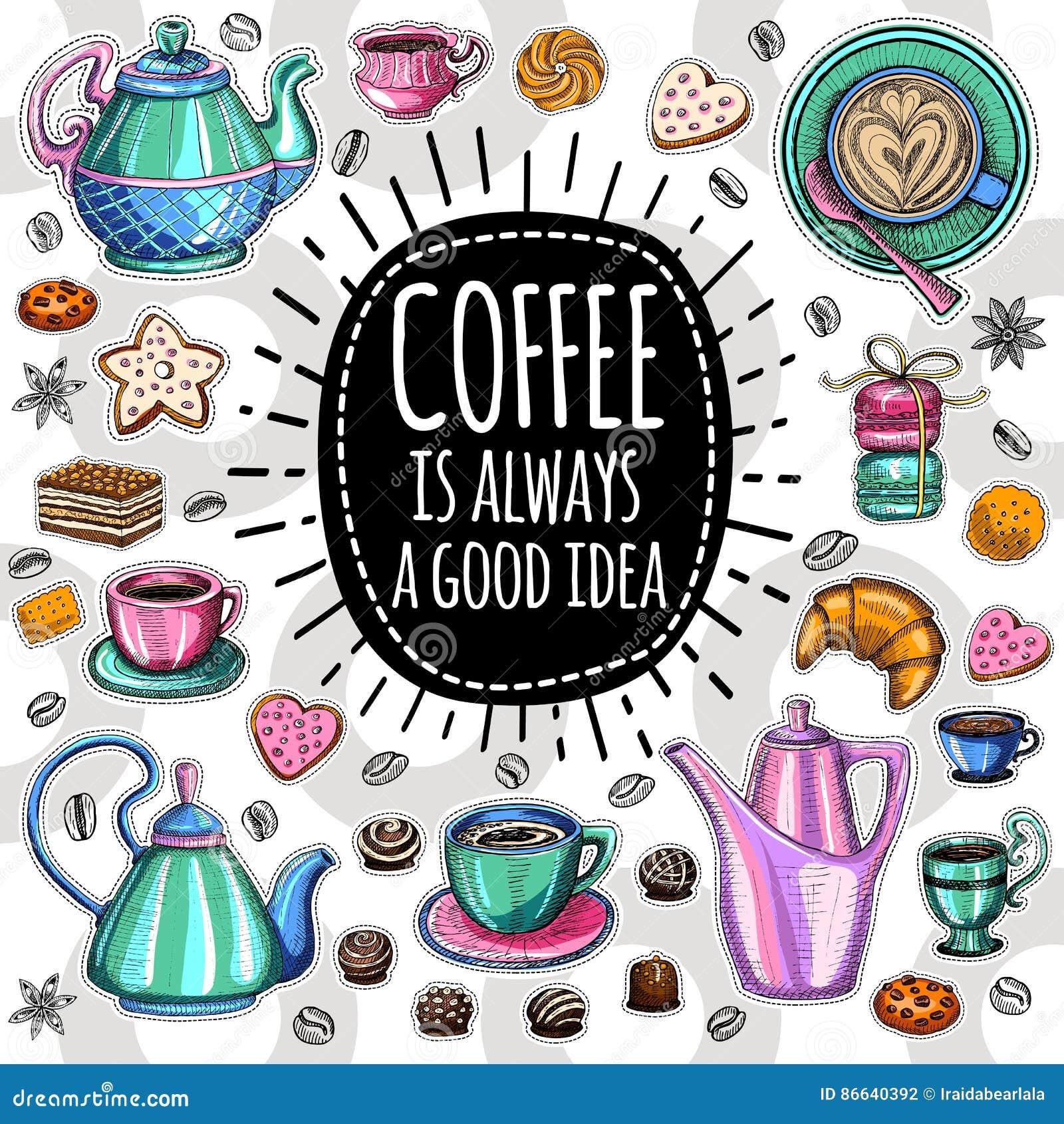 Moderiktig vektoruppsättning för kaffe