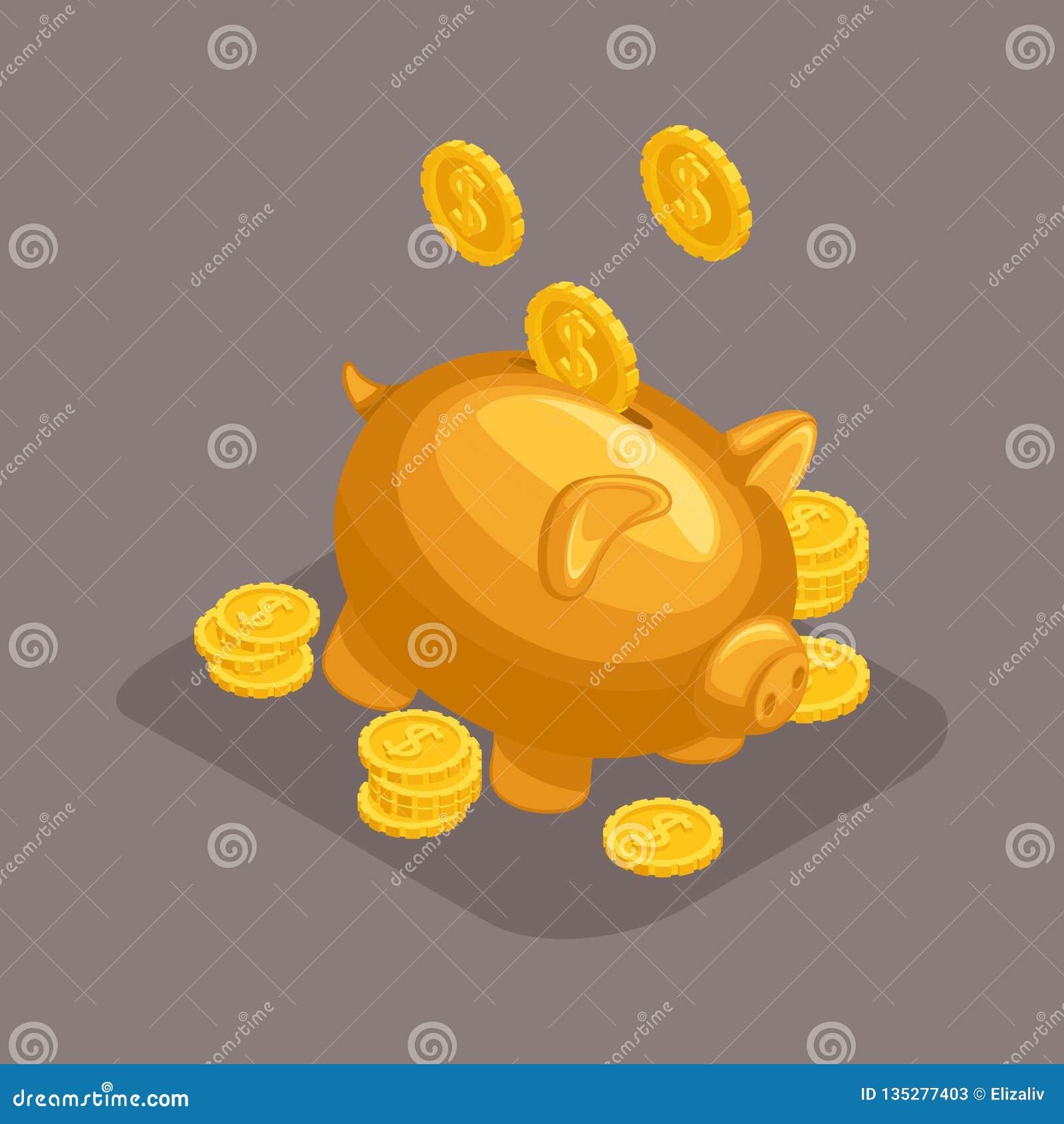 Moderiktiga isometriska objekt, 3d moneybox, begrepp för bankinsättning, guld- svin, falla för guld- mynt