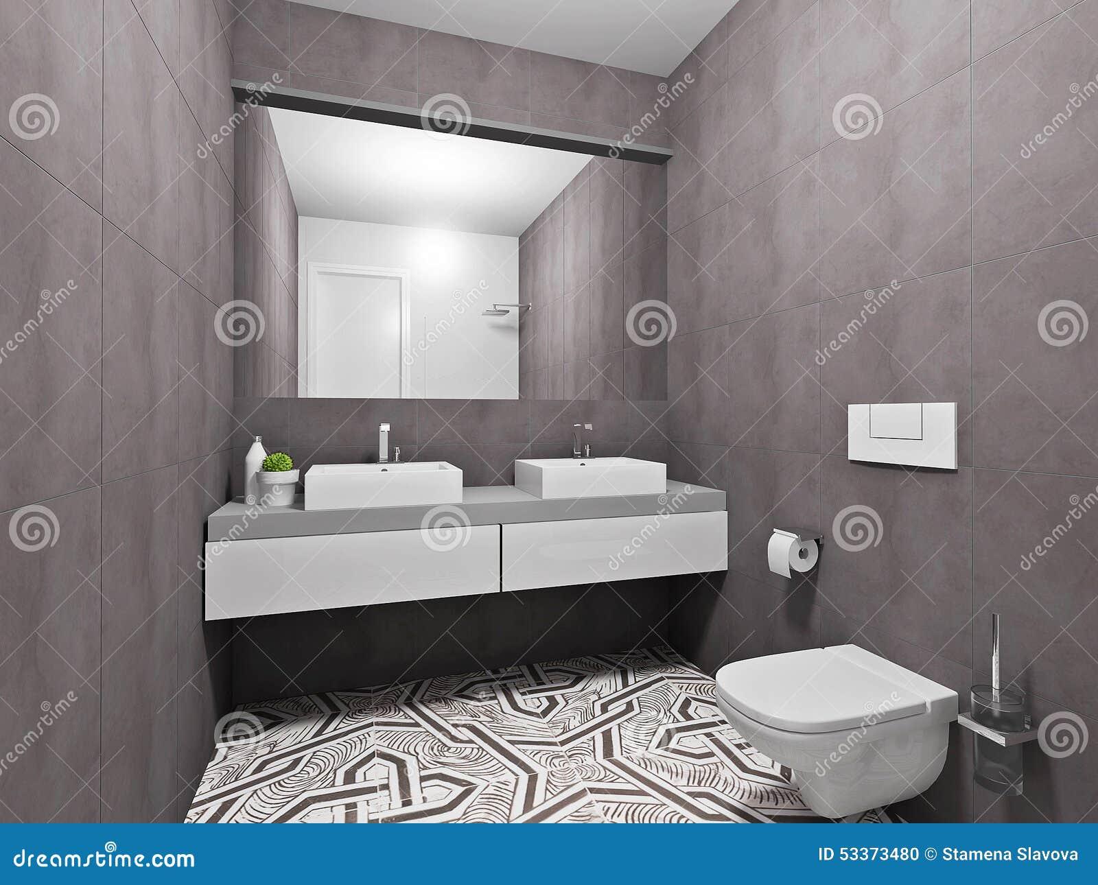 Rent badrum med toaletten med enkla gråa tegelplattor arkivbilder ...