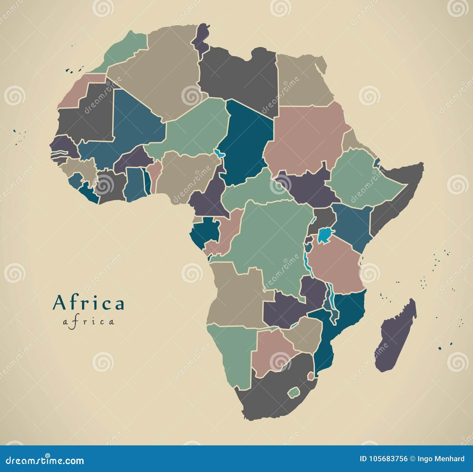 Modern översikt - Afrika kontinent med politiskt kulört för länder