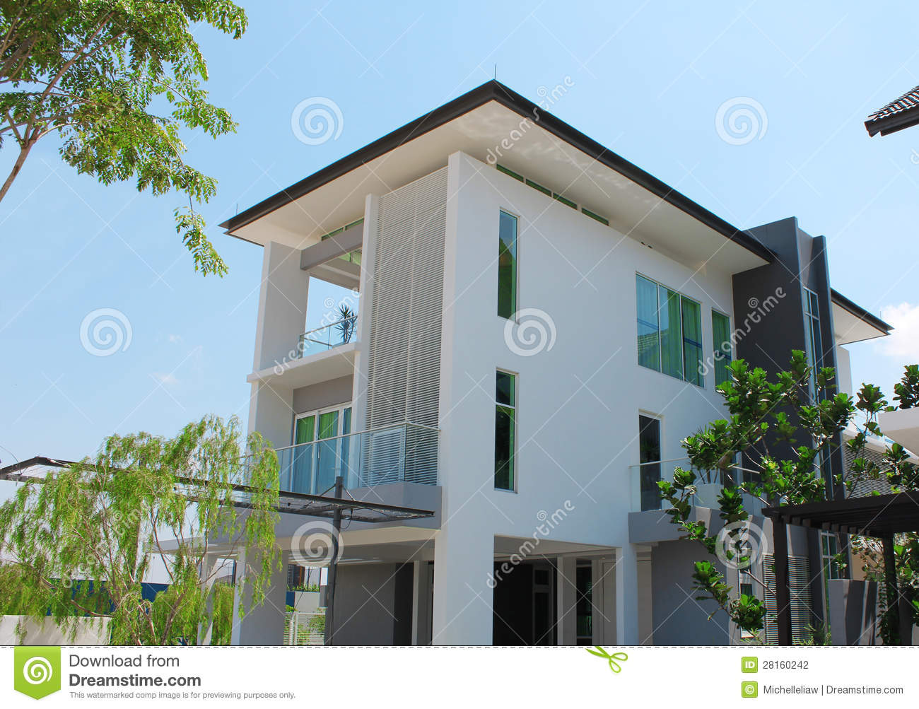 modern 3 storey bungalow design stock photography image